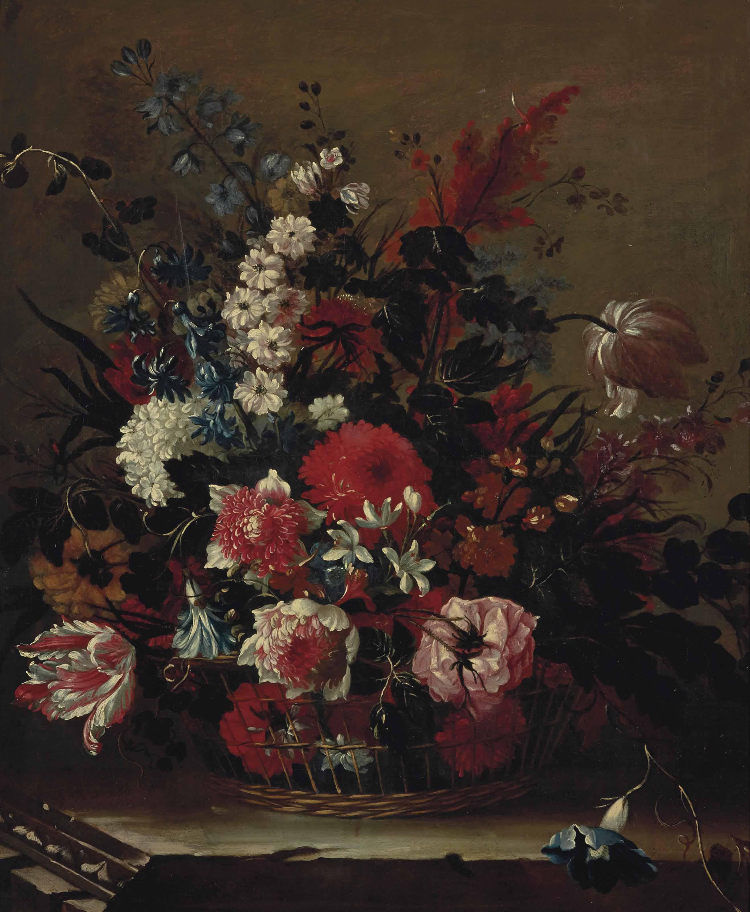 Corbeille de fleurs sur un entablement en pierre