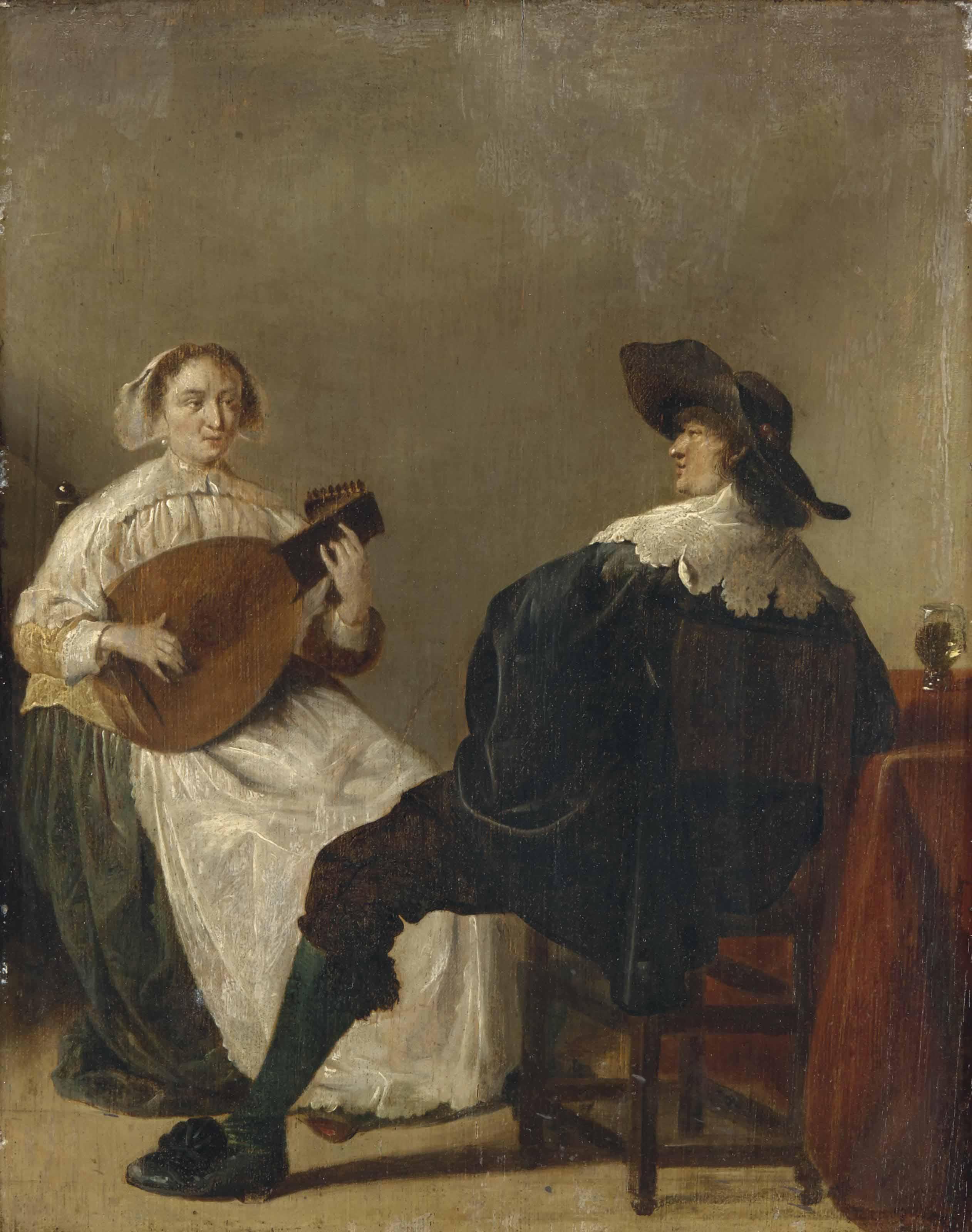Jeune femme jouant du luth pour un gentilhomme