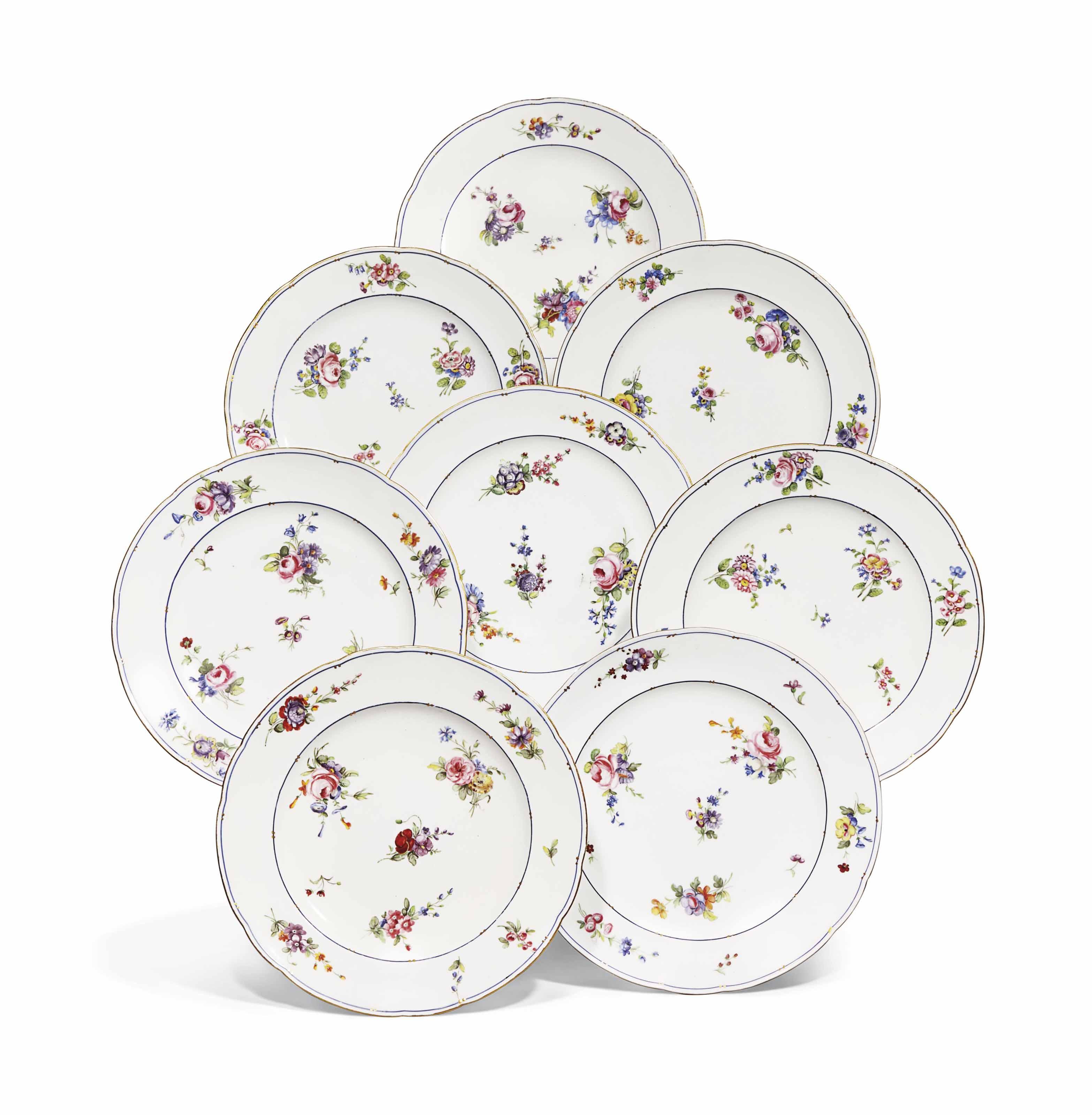 Peinture Sur Porcelaine Assiette huit assiettes en porcelaine de sevres du xviiieme siecle