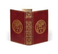 Jacques-Bénigne BOSSUET (1664-1704). Libri Salomonis Proverbia, Ecclesiastes, Canticum Canticorum. Sapientia, Ecclesiasticus. Cum notis Jacobi Benigni Bossuet. Paris : Jean Anisson, 1693. In-8 (193 x 125 mm). Reliure de l'époque, maroquin rouge, triple filet doré en encadrement, armes de Bossuet dorées au centre des plats (fer inconnu de OHR), dos à 5 nerfs orné de fers dorés, roulette dorée sur les coupes et roulette intérieure, tranches dorées sur marbrure.