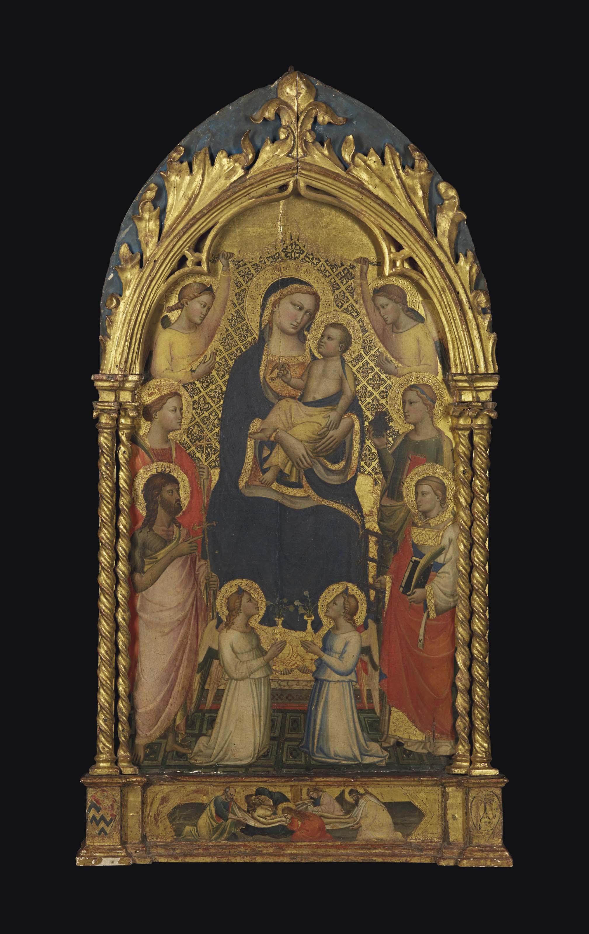 Madone à l'Enfant avec saint Jean-Baptiste et sainte Catherine d'Alexandrie (?), saint Laurent et sainte Lucie, entourés d'Anges. Mise au tombeau formant prédelle
