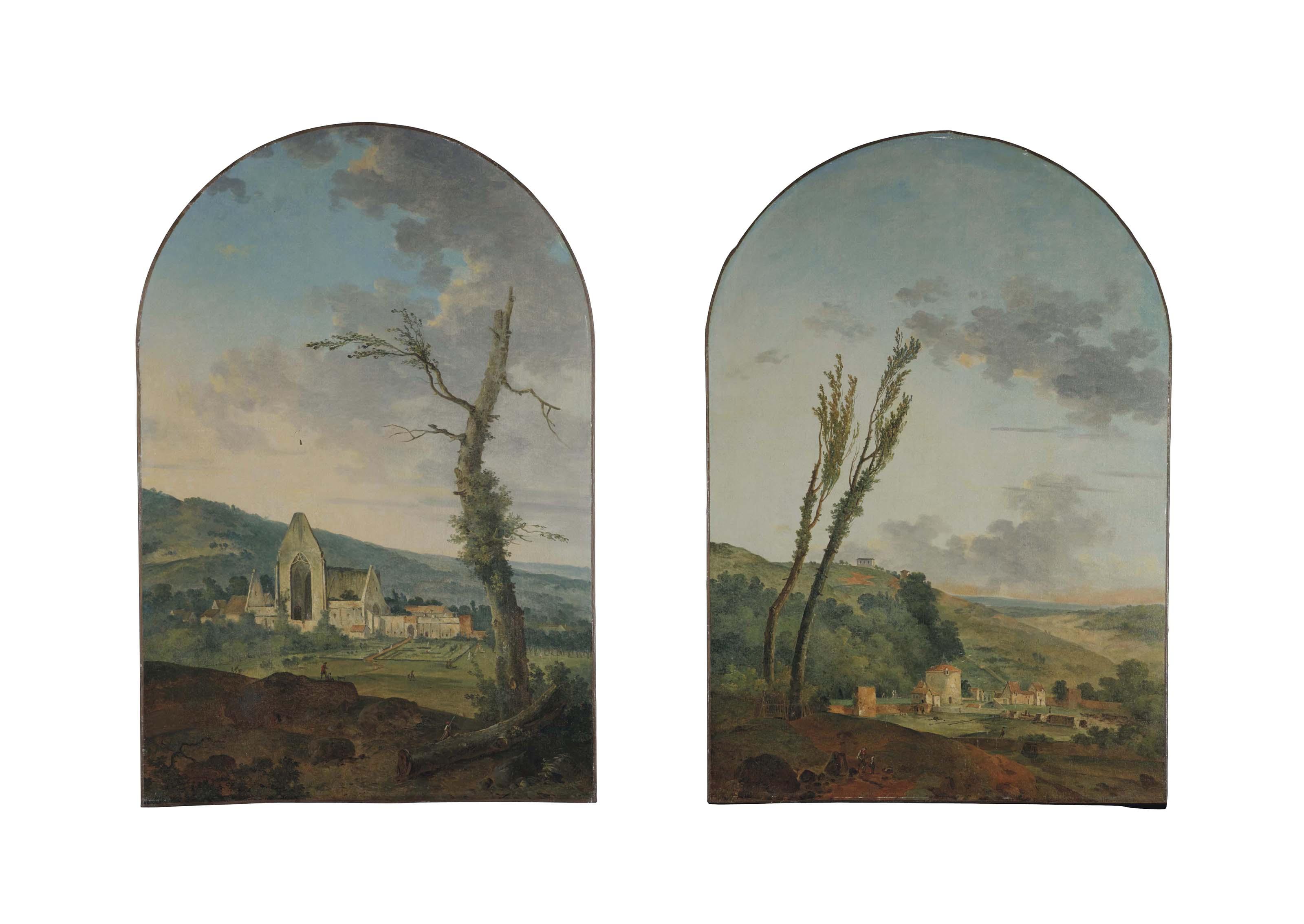 Paysage avec une vue présumée de l'Abbaye des Vaux de Cernay ; et Paysage avec une ferme et un pigeonnier