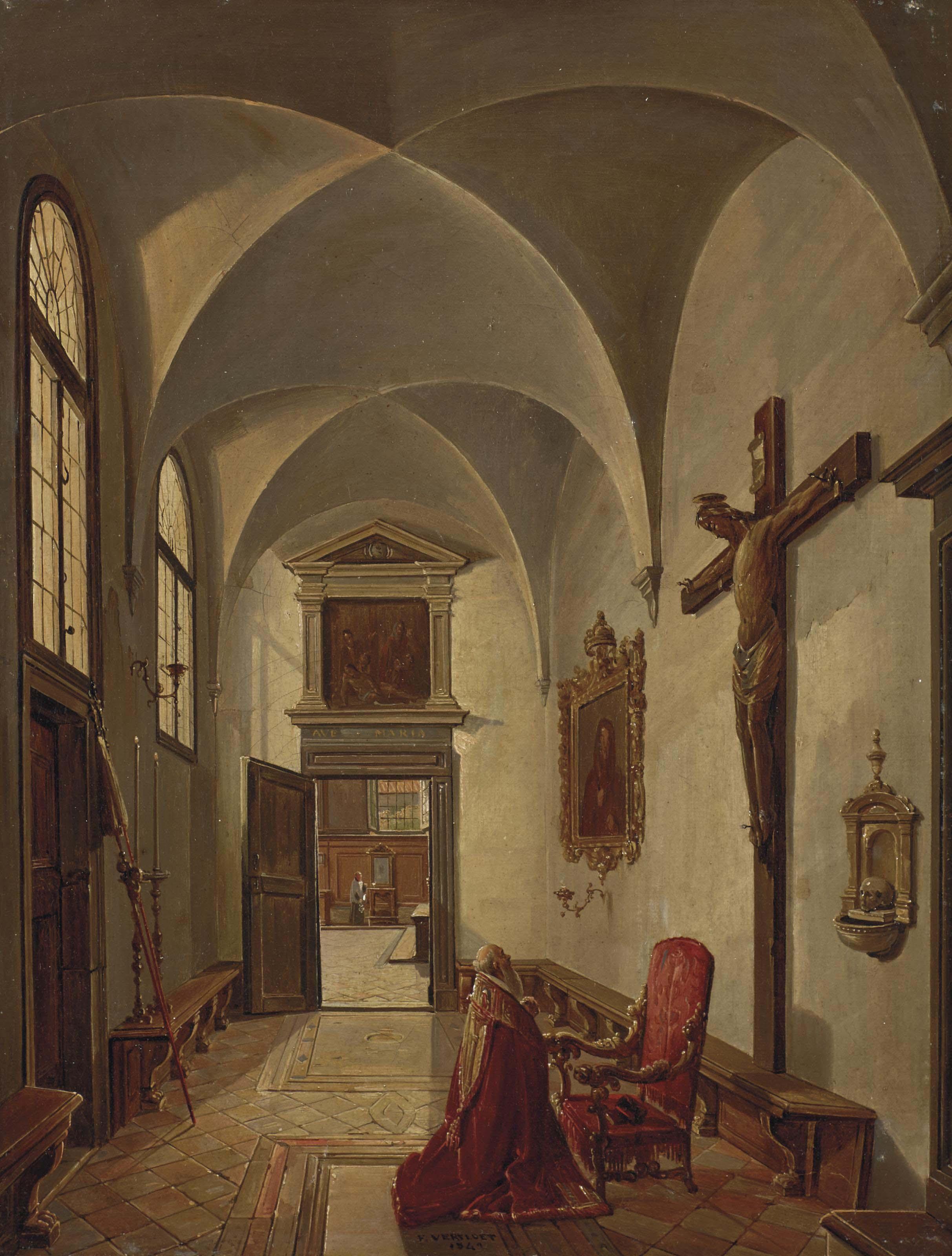 Un cardinal en prière dans l'église Saint-Sébastien de Venise