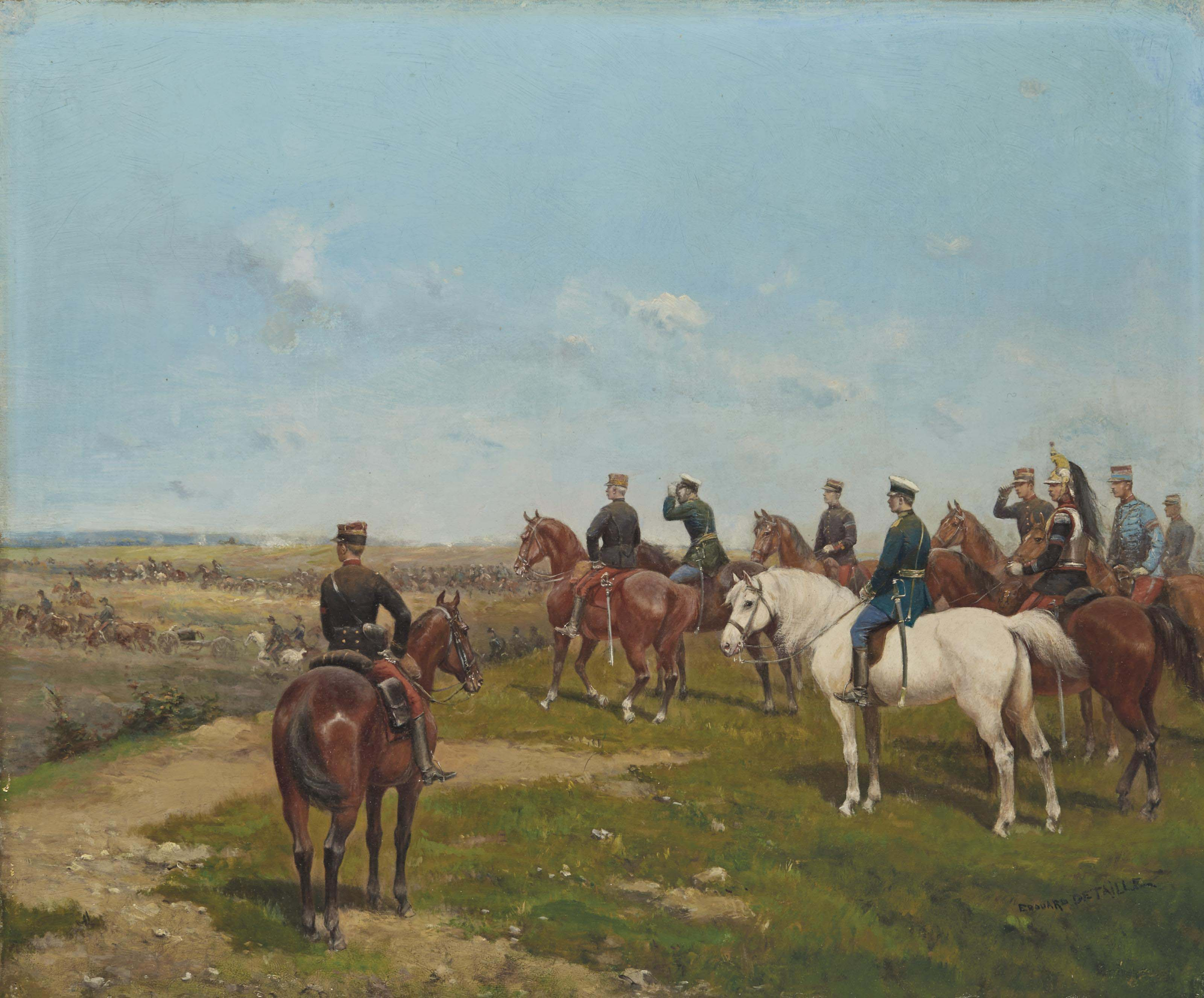 Le général Mac Mahon (1808-1893) observant un exercice militaire