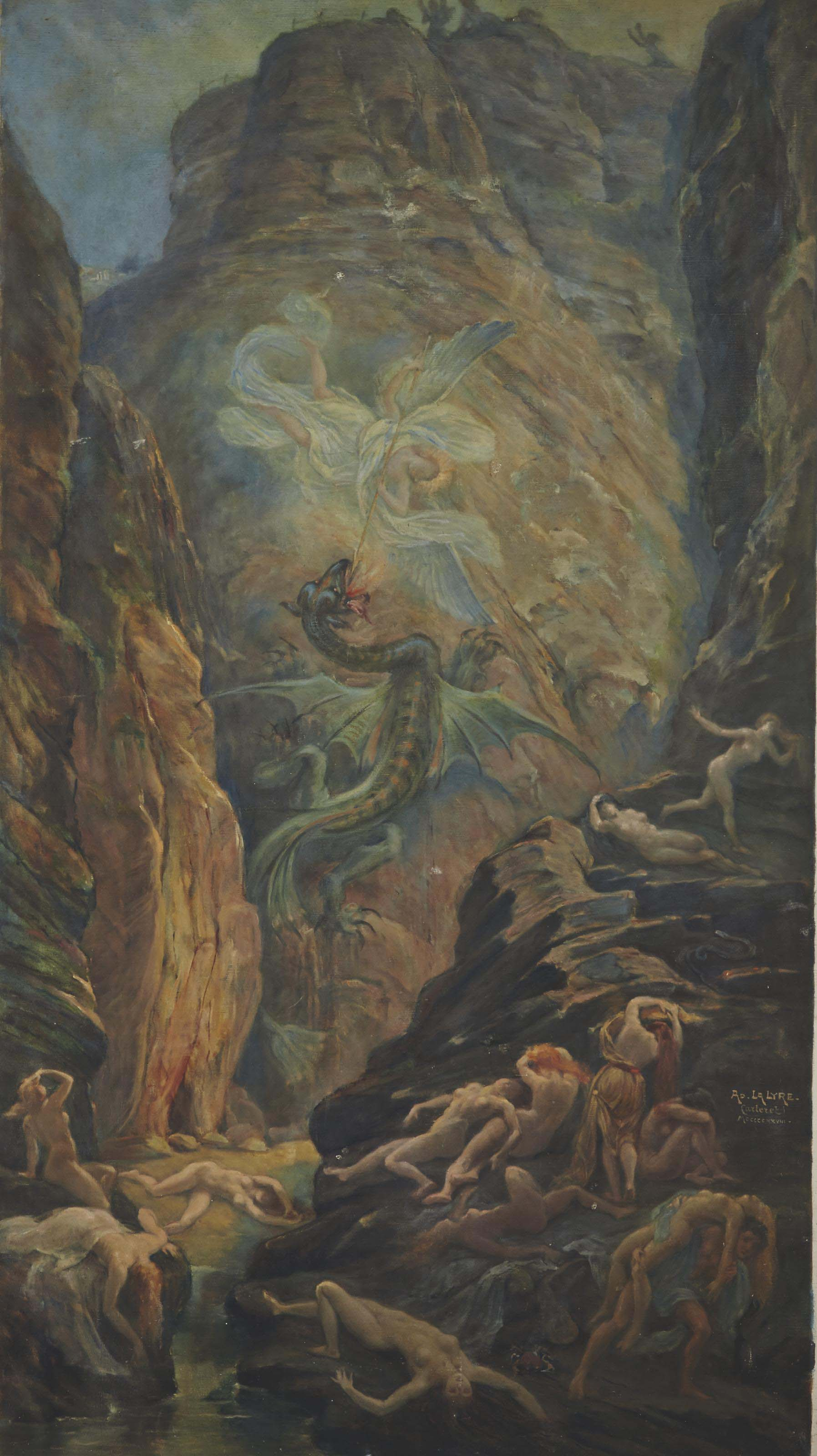 Saint Michel combattant le dragon dans un paysage rocheux