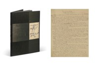 Jacques PRÉVERT (1900-1977). Souvenirs de famille ou L'Ange garde-chiourme. Manuscrit autographe signé « Jacques Prévert ». Encre sur papier. 12 feuillets in-4 (270 x 212 mm), recto seul, réenmargés de papier gris. Reliure signée P.-L. Martin au contreplat et datée 1965, dos et encadrement de maroquin ébène, premier plat orné d'un dallage formé de 5 pièces de papier bois brun et d'un dessin original signé de Prévert encastré, représentant l'ange garde-chiourme, second plat de papier bois brun, dos lisse, tête dorée, étui.