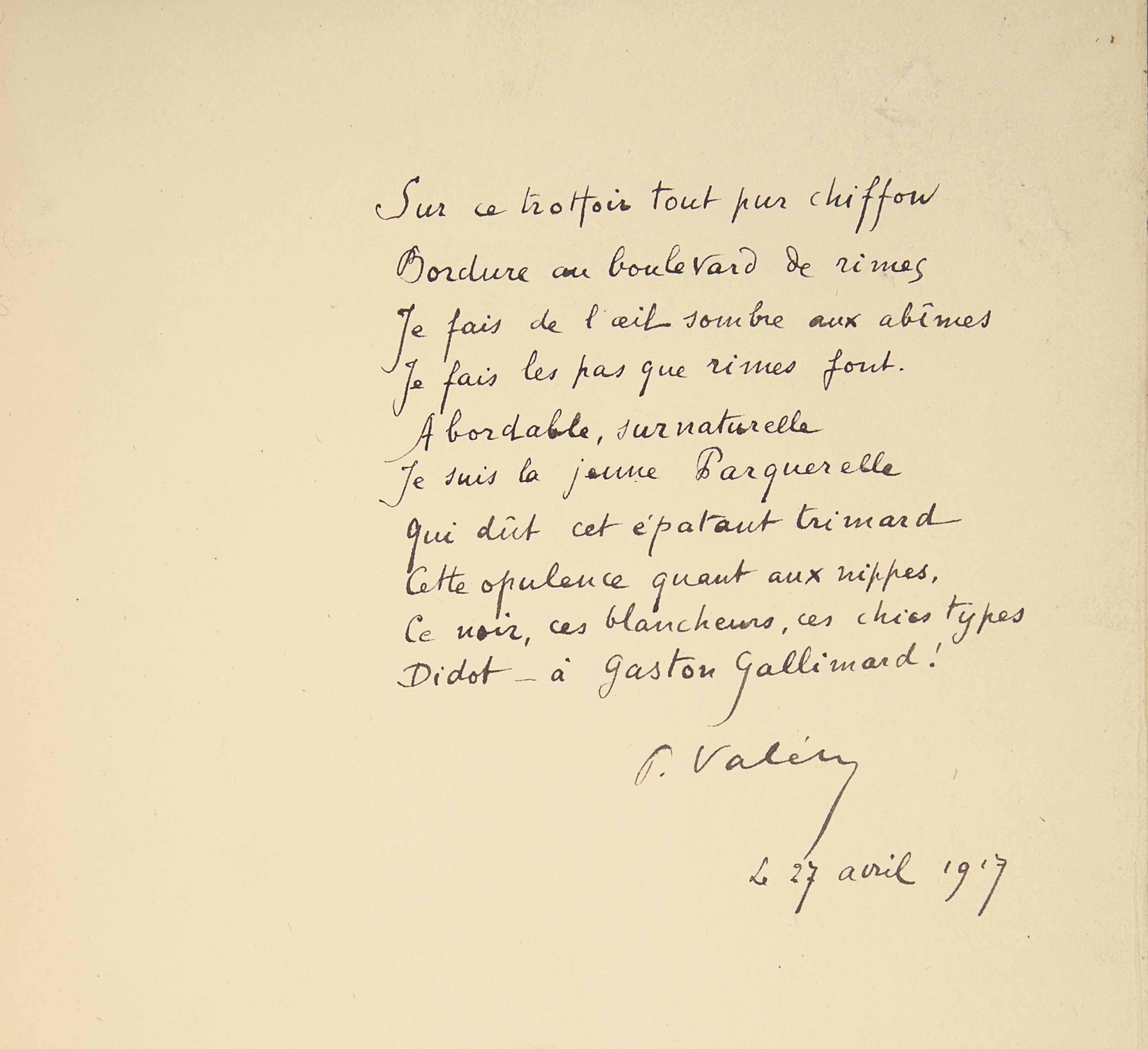 Paul VALÉRY (1871-1945). La Jeune Parque. Paris: Julien Crémieu pour la NRF, 30 avril 1917. In-4 (240 x 190 mm). Reliure signée Huser, maroquin brun, encadrement composé de multiples filets dorés droits et de deux listels de maroquin blanc mosaïqués, doublure de maroquin blanc et gardes de soie brune, tranches dorées, couverture conservée, sans le dos, étui assorti.