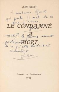 Jean GENET (1910-1986). Le Condamné à mort. Fresne: septembre 1942. Plaquette in-8 (210 x 131 mm). Bradel cartonnage moderne, couverture.