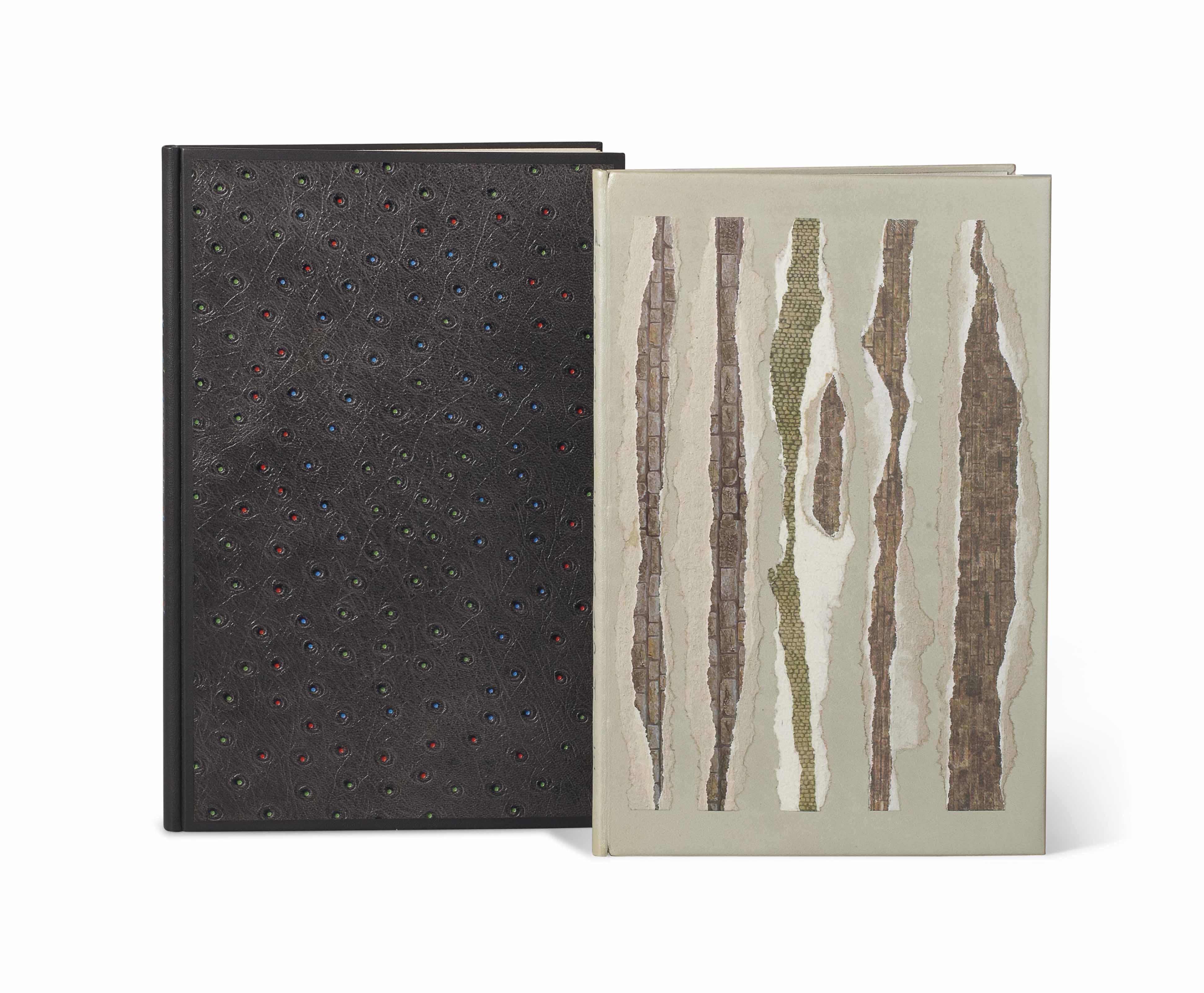 [MIRÓ] – Pierre-André BENOÎT (1921-1993). Les Livres de Miró réalisés par PAB. [Rivières : 1978]. In-8 (250 x 157 mm). Une cartalégraphie de Joan Miró tirée en gris sur la couverture. Reliure signée Leroux au contreplat et datée 1998, bradel de box tourterelle, dos lisse, plats d'autruche grise, chaque grain souligné d'un point à l'oeser de couleur vert, rouge et bleu, dos lisse avec le titre à l'oeser de mêmes couleurs, couverture, chemise et étui assortis.