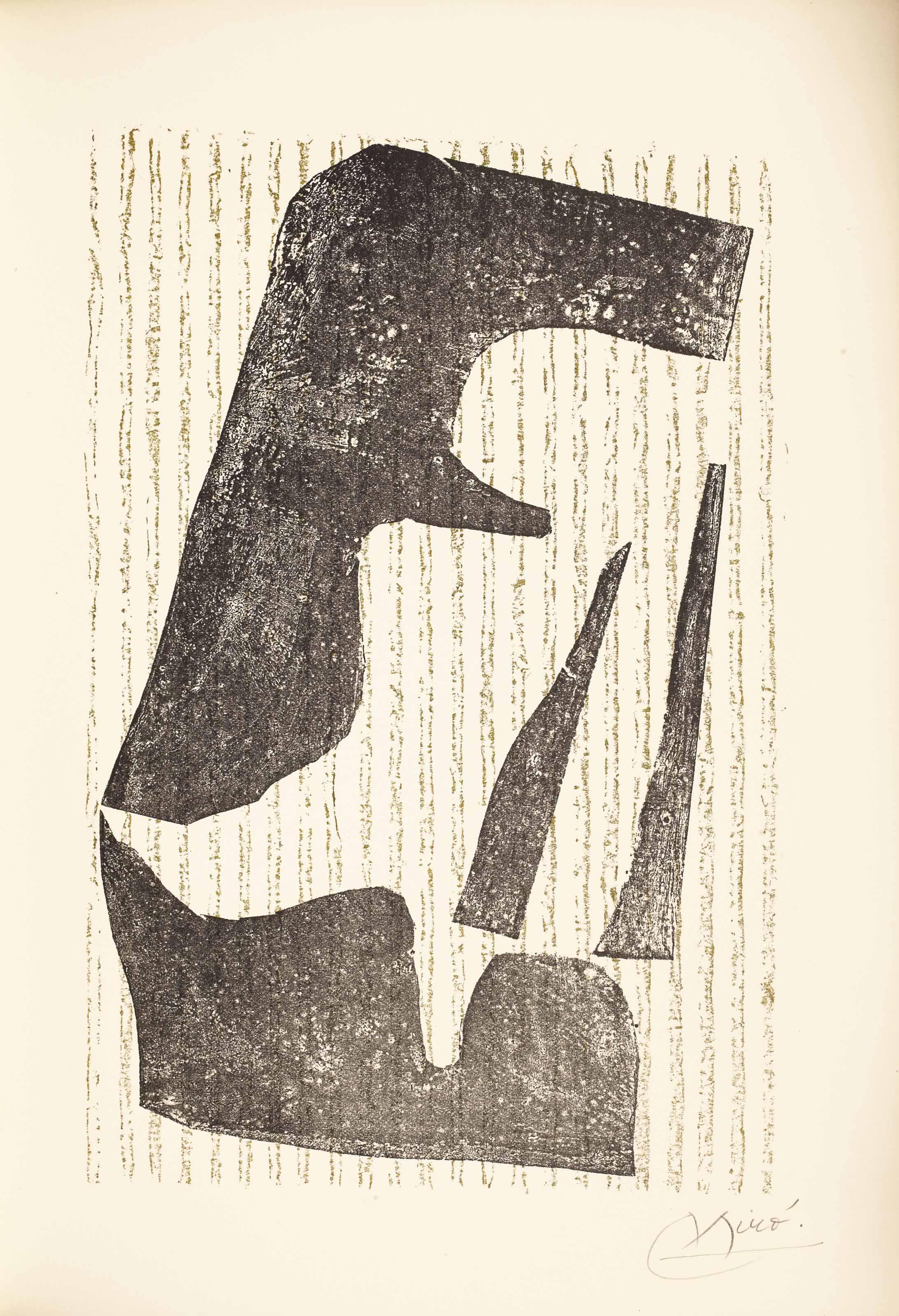 [MIRÓ] – Pierre-André BENOÎT (1921-1993). Pour 1971. [Alès : PAB, 1975]. In-4 (326 x 230 mm). 3 cartalégraphies originales de Joan Miró dont une signée (couverture et 2 à pleine page). Reliure signée Leroux au contreplat et datée 1993, box gris, plats ornés de grandes compositions abstraites formées de pièces mosaïquées de toile grise, ronds de box noir, rouge et vert et rectangles de cuir estampé, dos lisse, couverture, chemise et étui assortis.