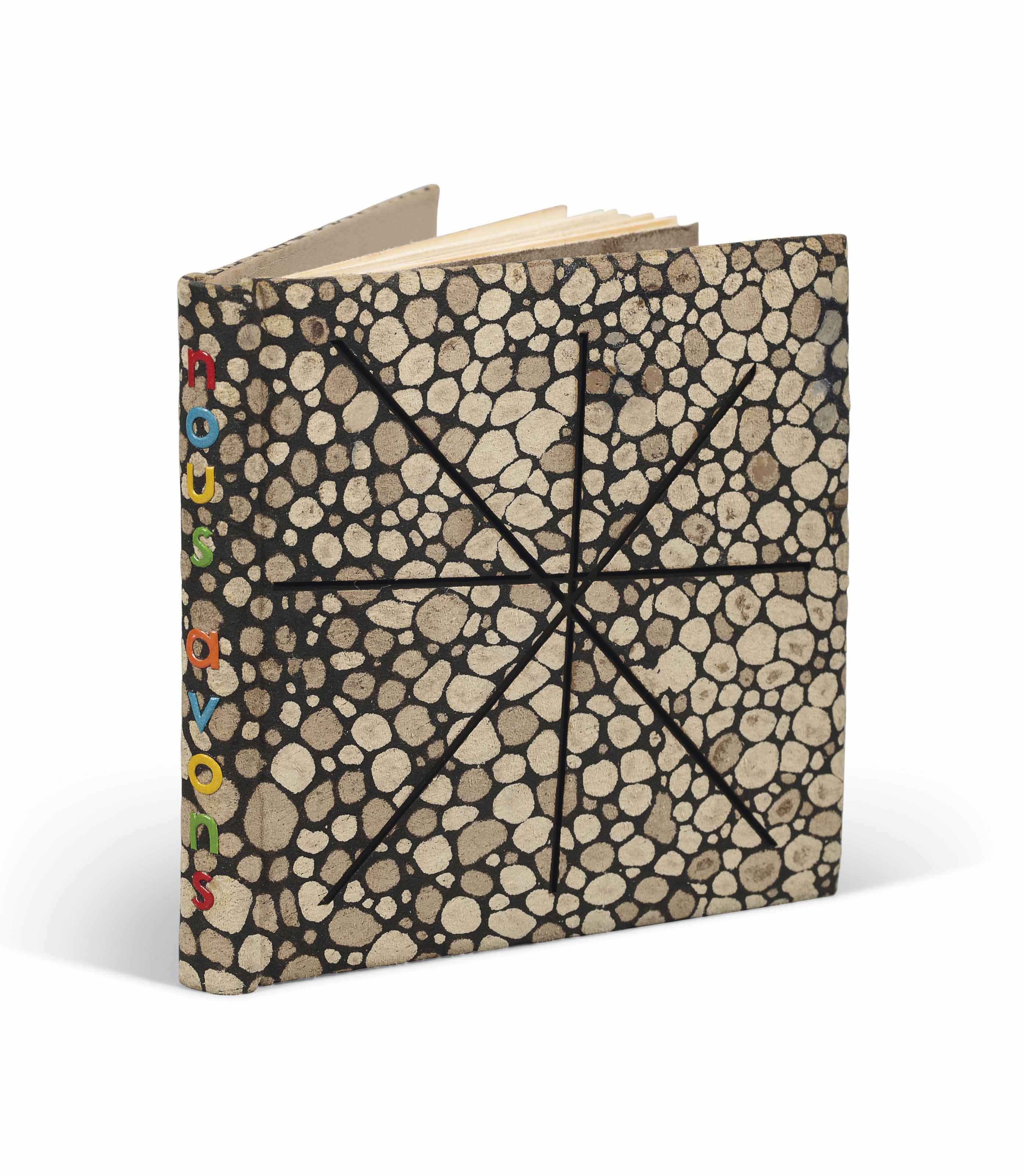 [MIRÓ] – René CHAR (1907-1988). Nous avons. Alès : PAB, février 1958. Petit in-16 (84 x 84 mm). Une gravure originale sur celluloïd signée de Joan Miró. Reliure signée Leroux au contreplat et datée 1991, fleur de cuir décorée façon galuchat, chaque plat orné d'un décor incisé de lignes droites formant une étoile inspirée de Miró, dos lisse avec le titre mosaïqué de box de différentes couleurs, doublure de box marron glacé, gardes de daim de même couleur, couverture, chemise et étui assortis.