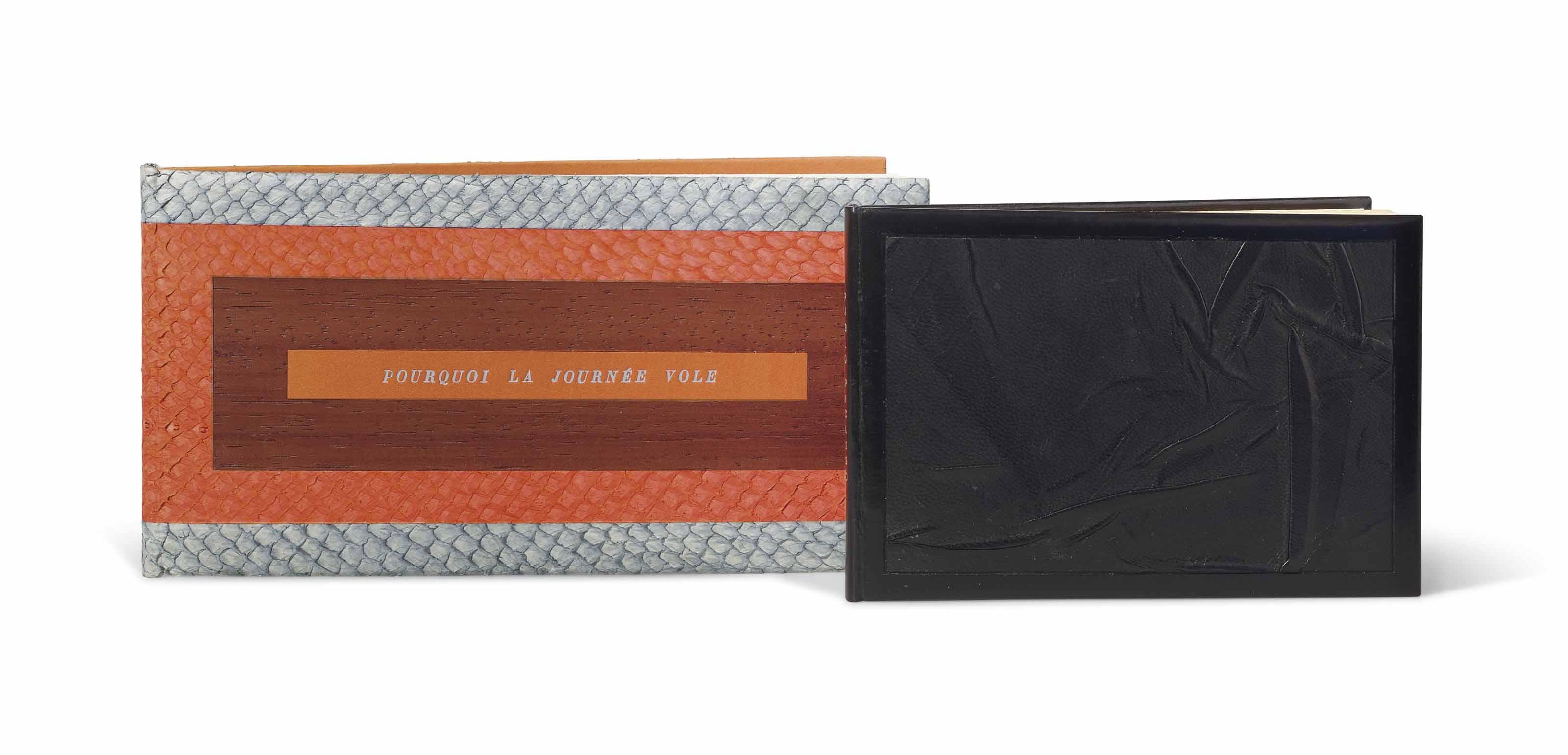 [PICASSO] – René CHAR (1907-1968). Pourquoi la journée vole. Alès: PAB, juillet 1960. In-16 oblong (100 x 191 mm). Une gravure originale au burin sur celluloïd signée de Pablo Picasso. Reliure signée Leroux au contreplat et datée 1994, décor rectangulaire de cuir arraché bleu-gris et orange passant sur le dos lisse, incrustation au centre des plats d'un rectangle de bois, au centre du premier plat pièce de titre en box orange, doublure de box orange, gardes de daim gris, couverture, chemise et étui assortis.