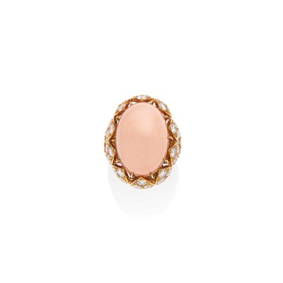 BAGUE CORAIL ET DIAMANTS, PAR