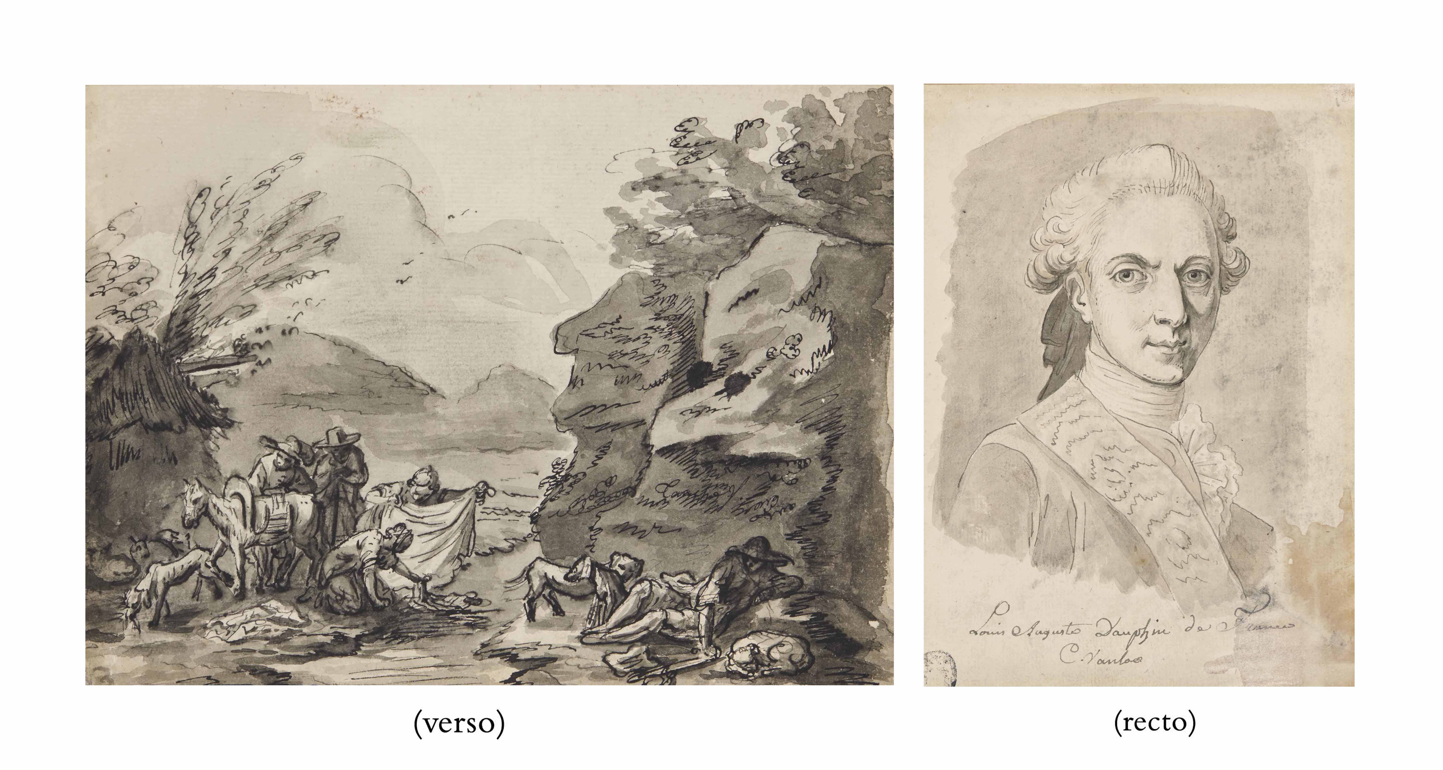 Portrait de Louis Auguste de France (1754-1793), Dauphin de France et futur Louis XVI (recto) ; et Lavandières et bergers au repos dans un paysage (verso)
