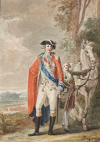 Le comte d'Artois en uniforme (1757-1836), un valet tenant son cheval