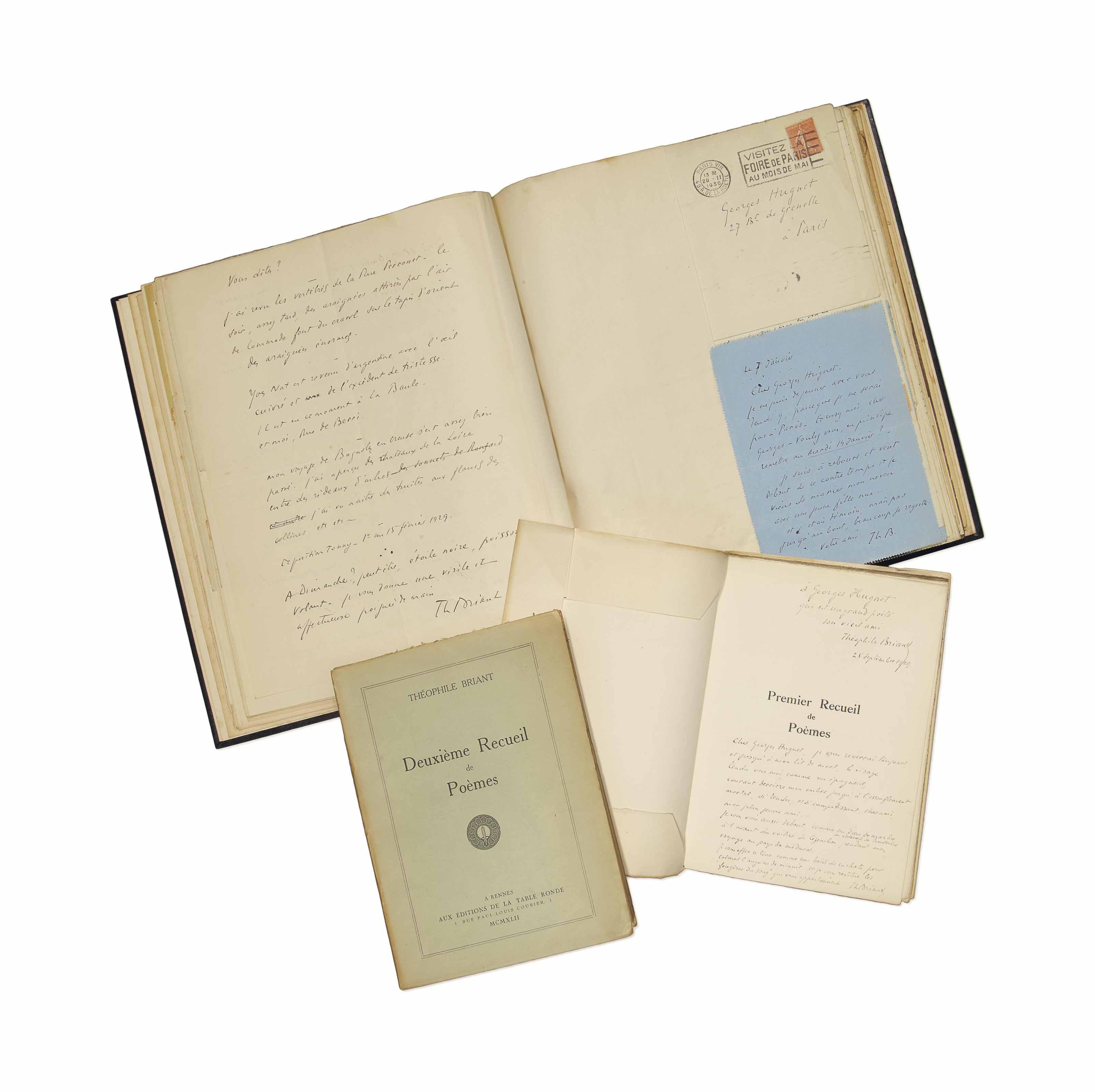 Théophile Briant (1891-1956). 39 lettres, cartes et billets autographes...