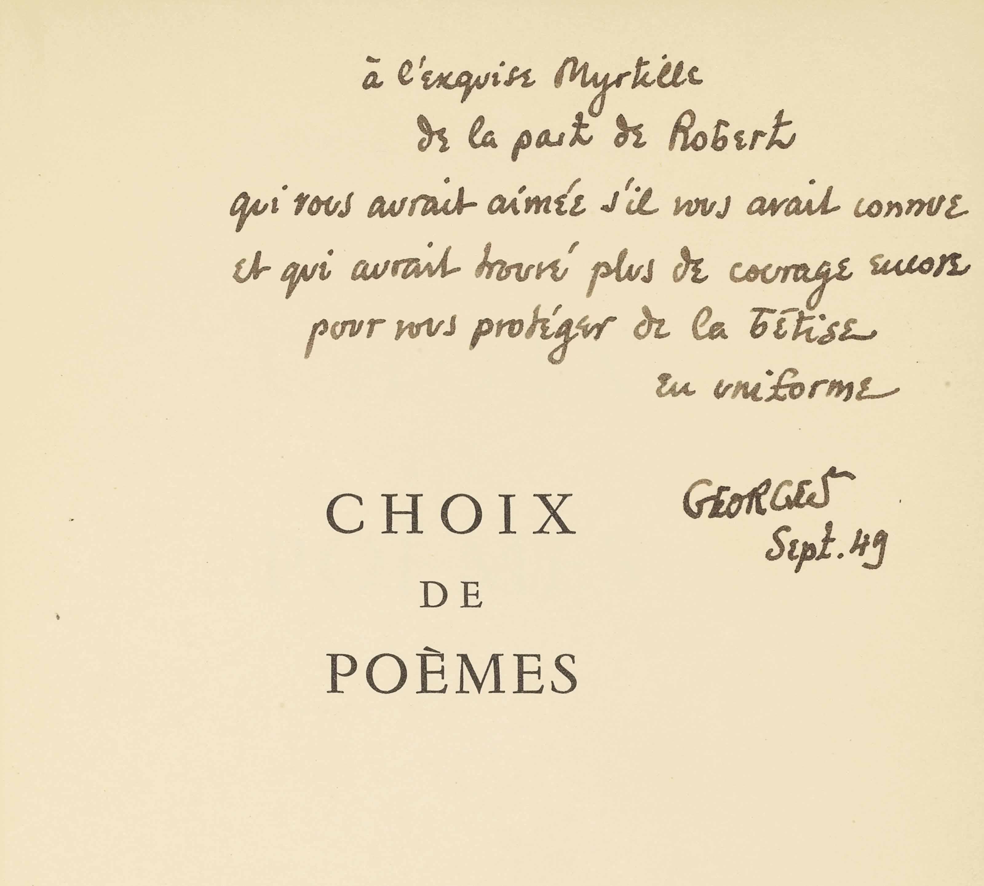 Robert Desnos (1900-1945). Choix de poèmes. Paris : Éditions de Minuit, 26 mars 1946. In-8 (190 x 142 mm). Broché, couverture noire illustrée d'après Mario Prassinos.