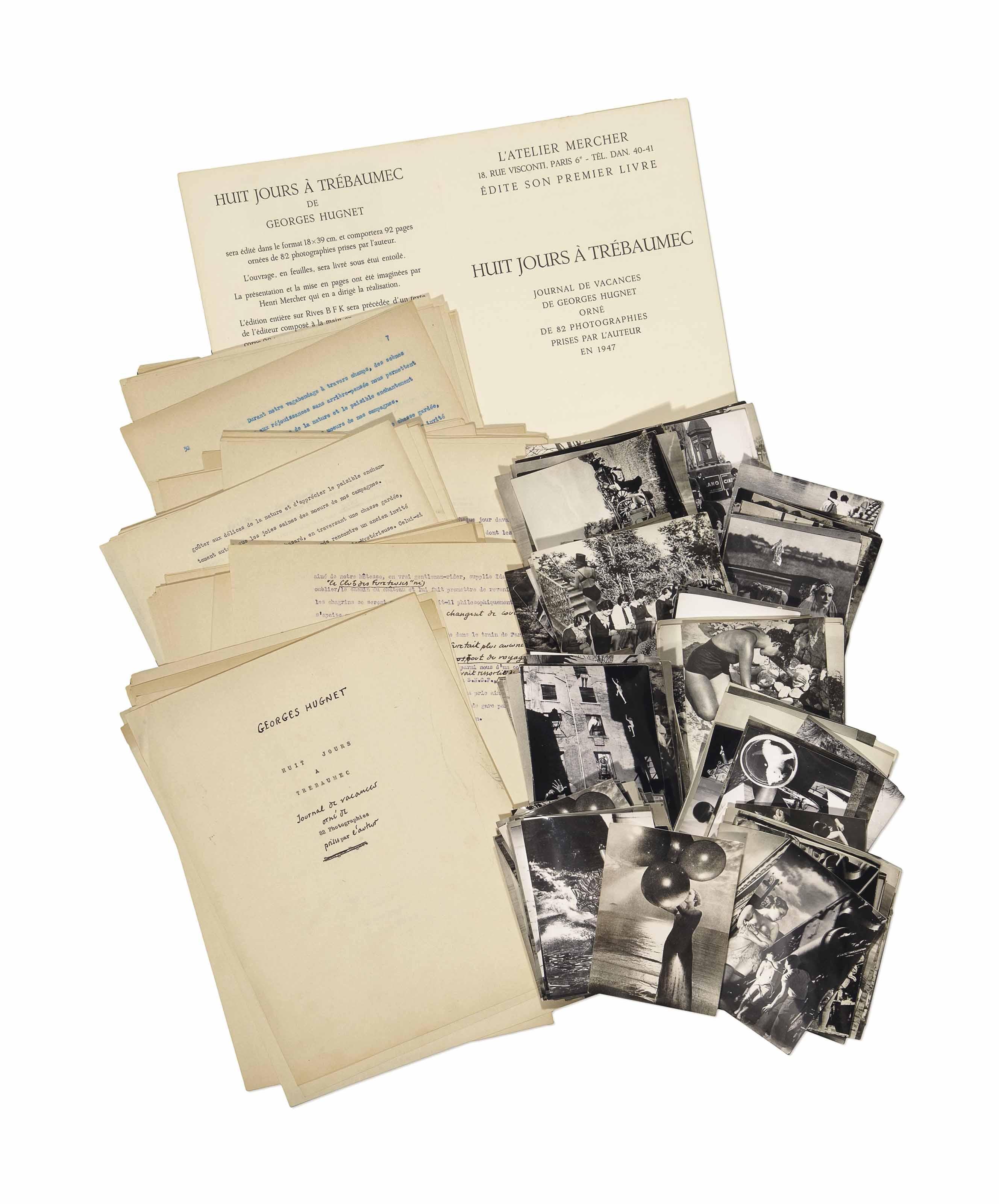 Georges Hugnet (1906-1974). Huit jours à Trébaumec. Journal de vacances orné de 82 photographies prises par l'auteur. [Circa 1969]. Importante réunion de tapuscrits corrigés et de photographies originales préparatoires et négatifs originaux (plus de 100 feuillets et 163 photographies).