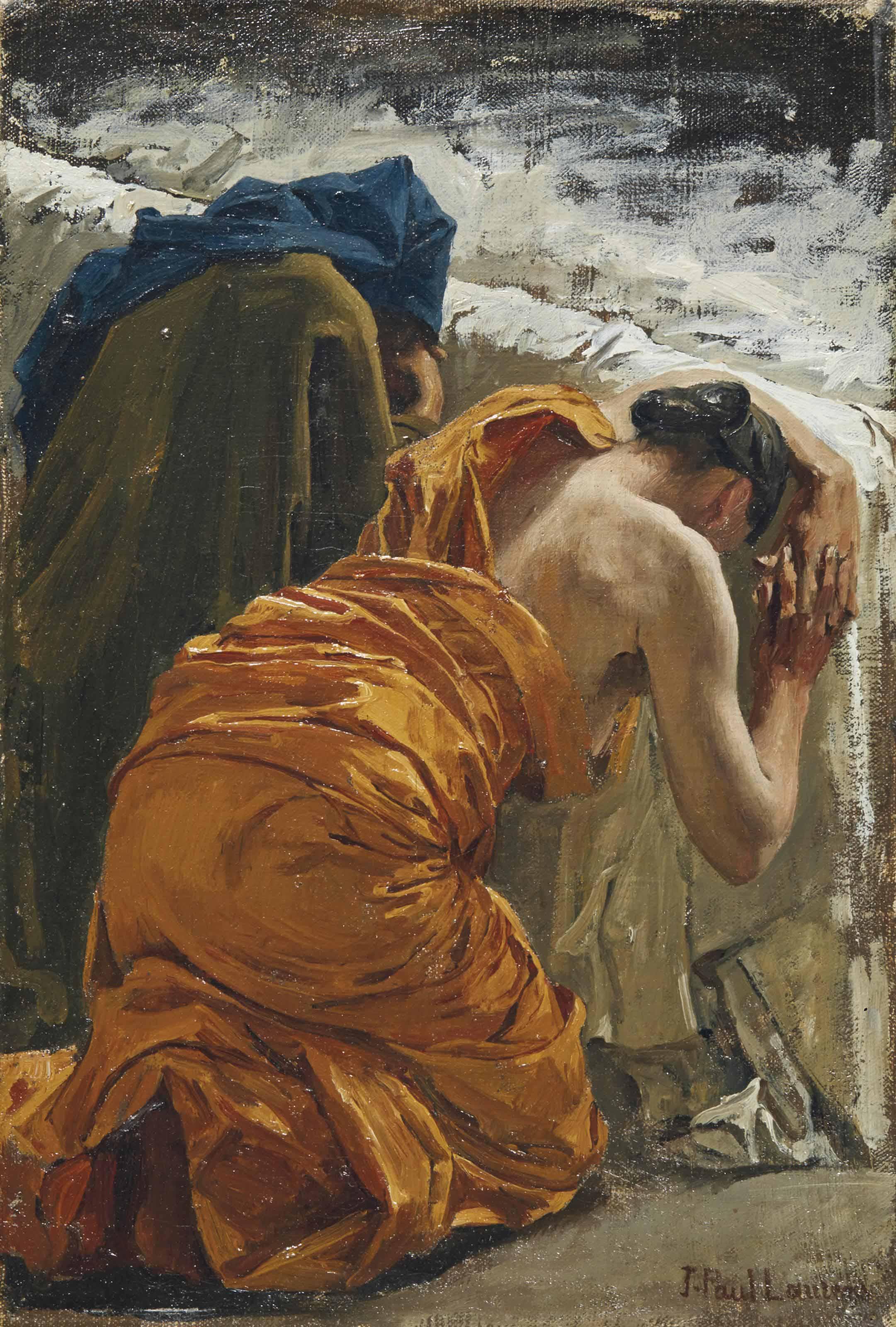 Etude de deux femmes éplorées pour le décor du Panthéon