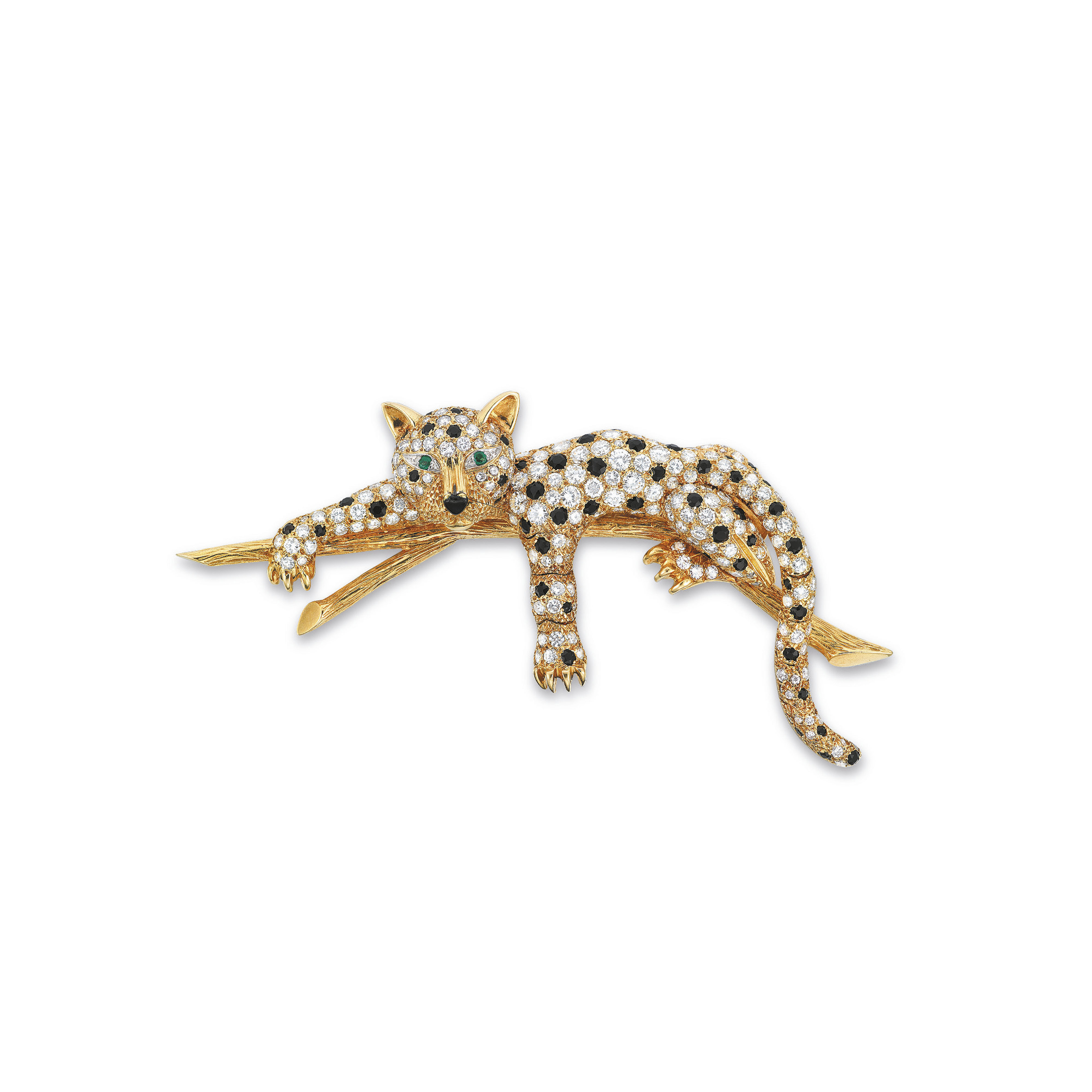 A DIAMOND, ONYX AND EMERALD BROOCH, BY VAN CLEEF & ARPELS