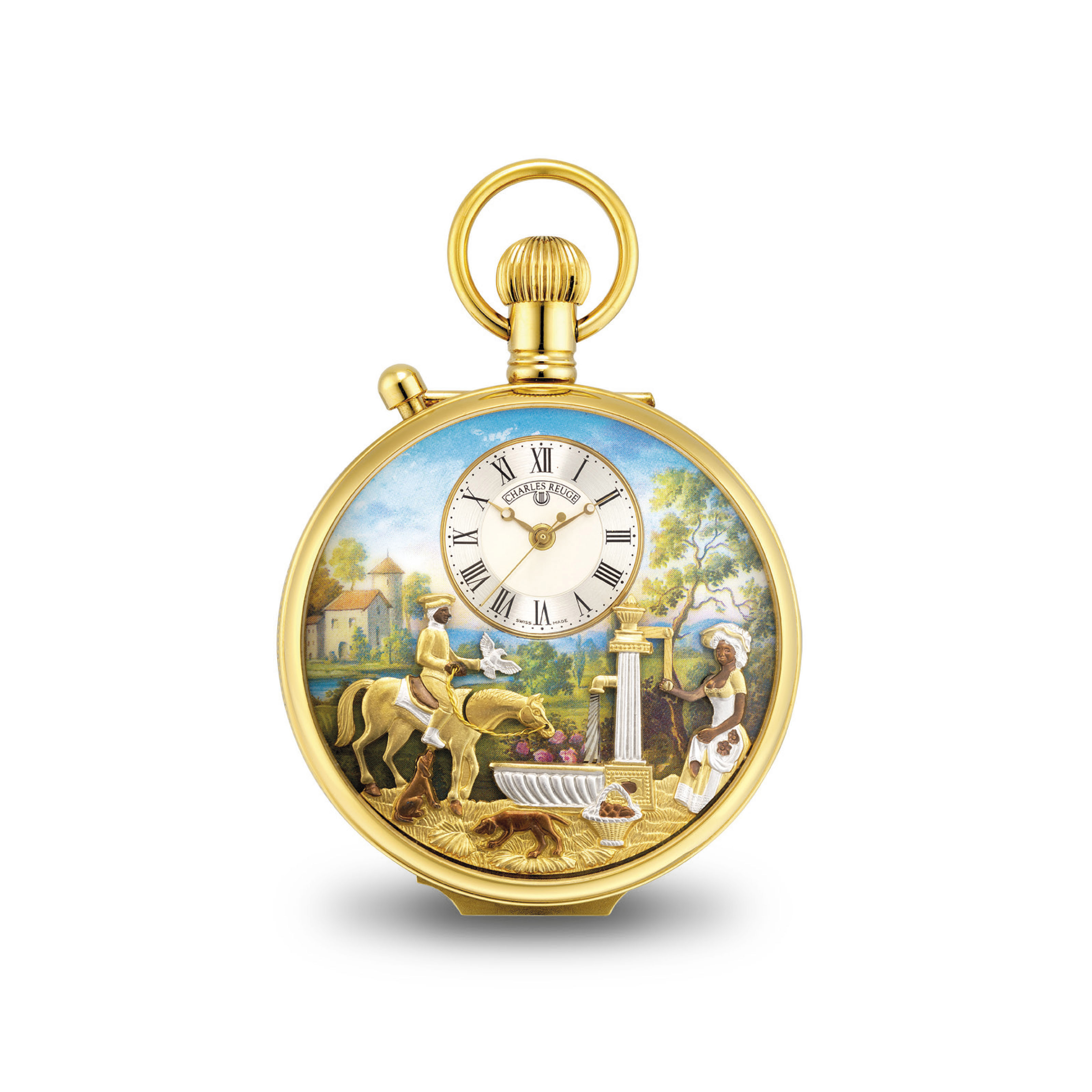 REUGE. A GOLD-PLATED OPENFACE KEYLESS LEVER WATCH WITH SWEEP CENTRE SECONDS AND MUSICAL AUTOMATON