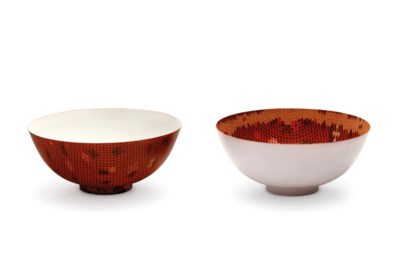 'ECHO' A pair of red enameled