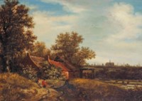 A dune landscape with a view of Haarlem in the distance