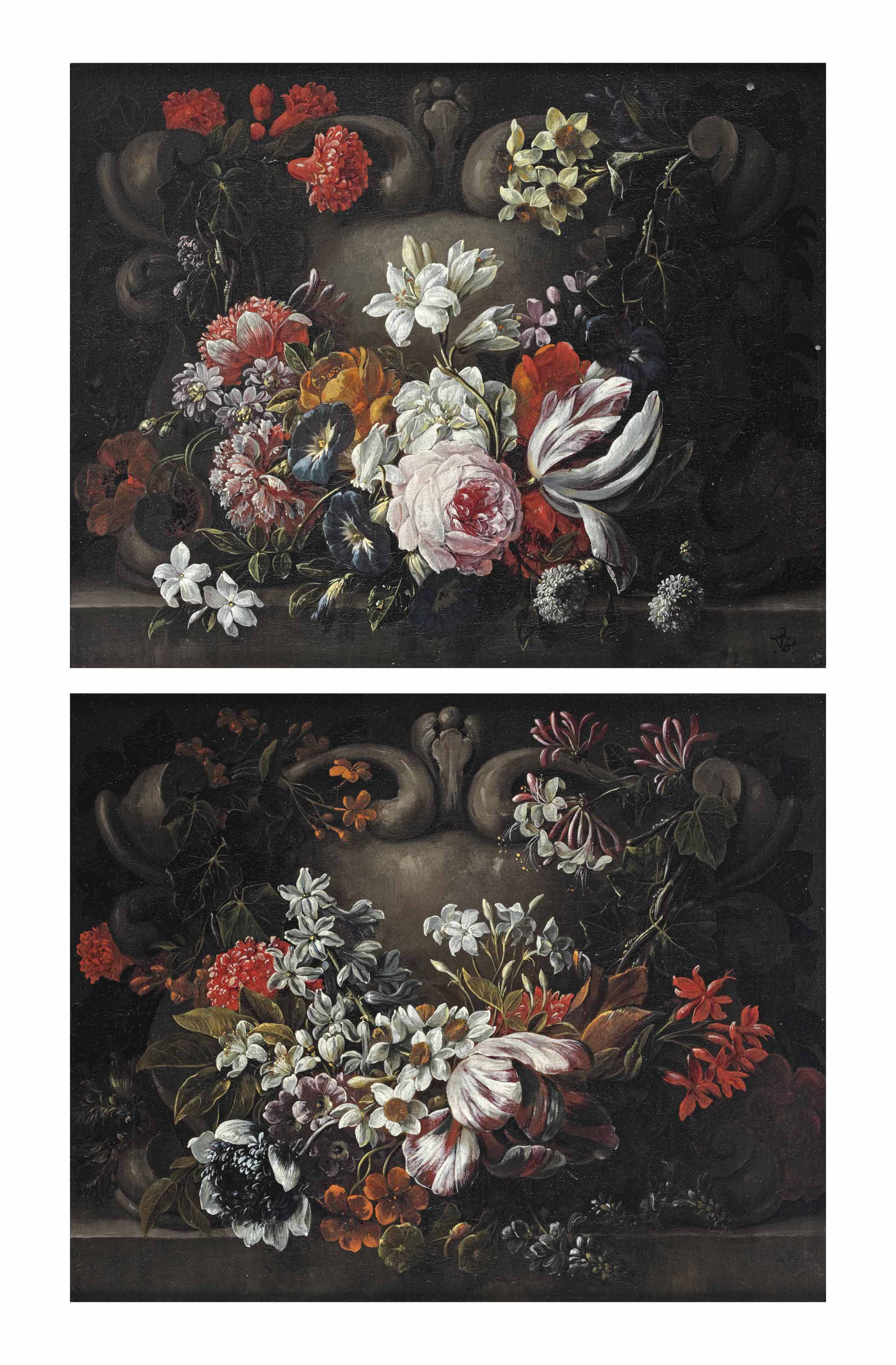 A tulip, jasmine, chrysanthemums, narcissi, ivy and various other flowers decorating a feigned stone cartouche; and Roses, morning glory, jasmine, narcissi, poppies, a tulip, ivy and various other flowers decorating a feigned stone cartouche