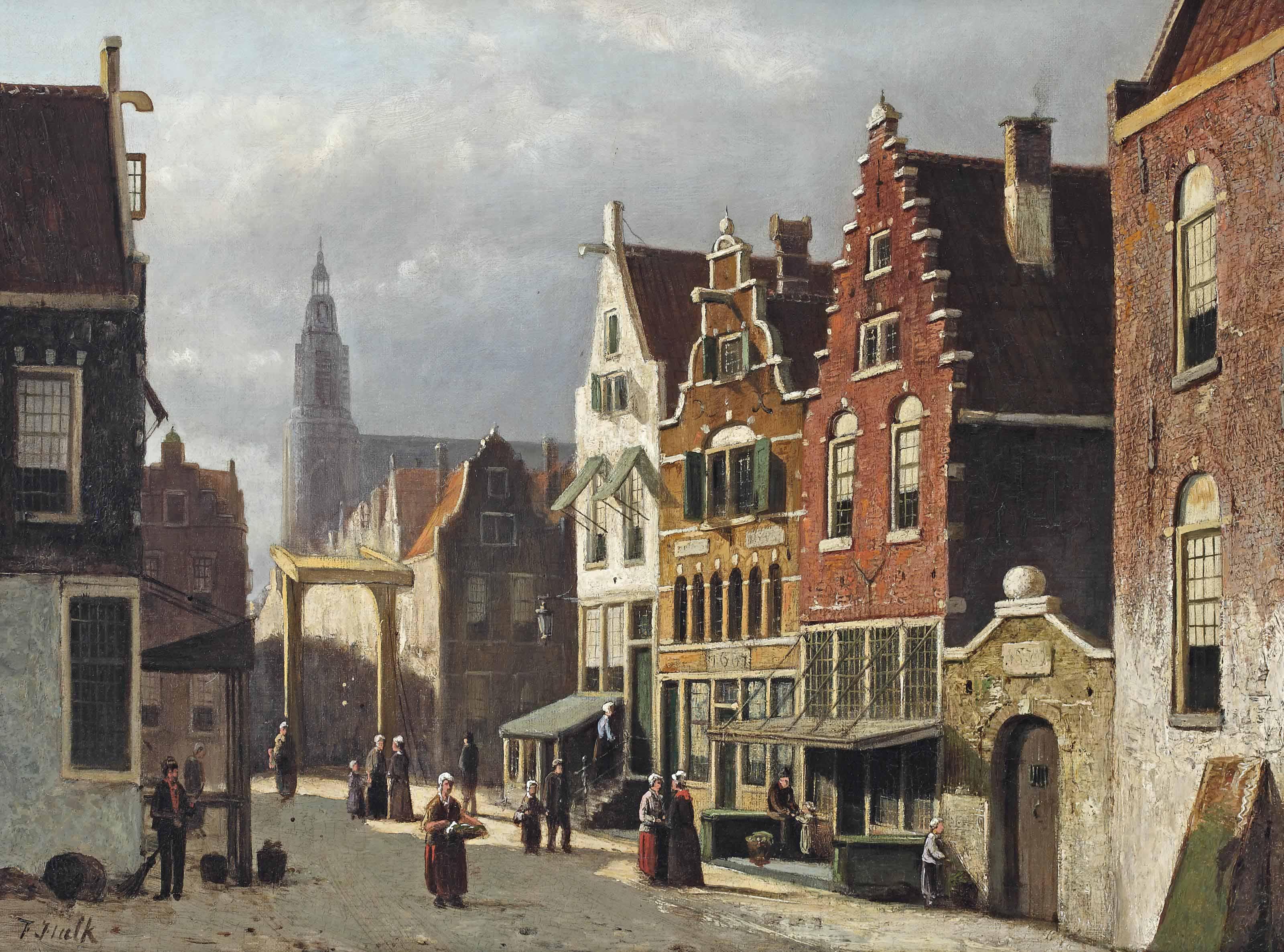 A sunlit street in a Dutch town