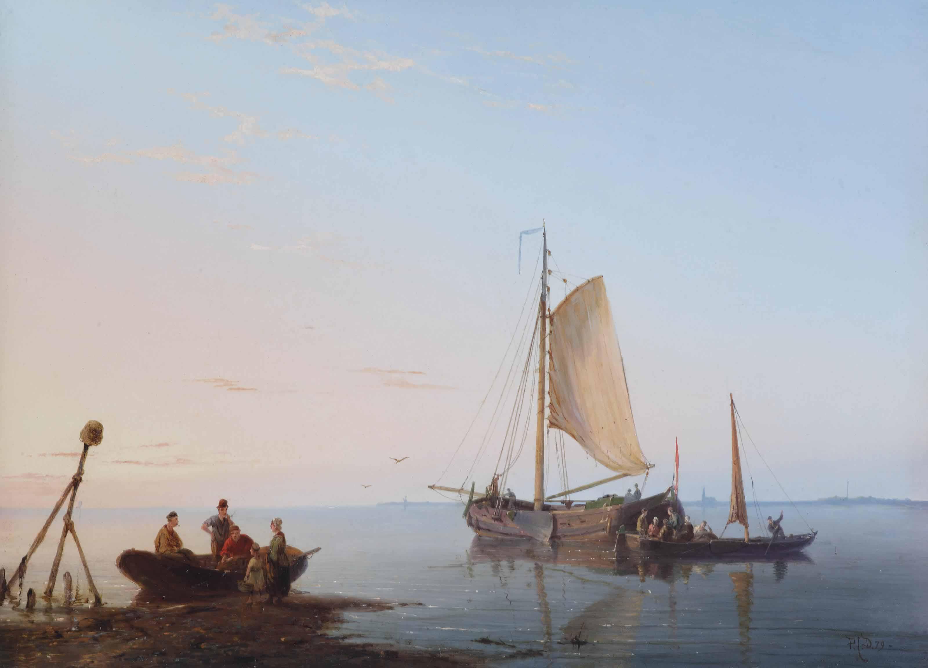 Vessels along the Dutch coast at sunset