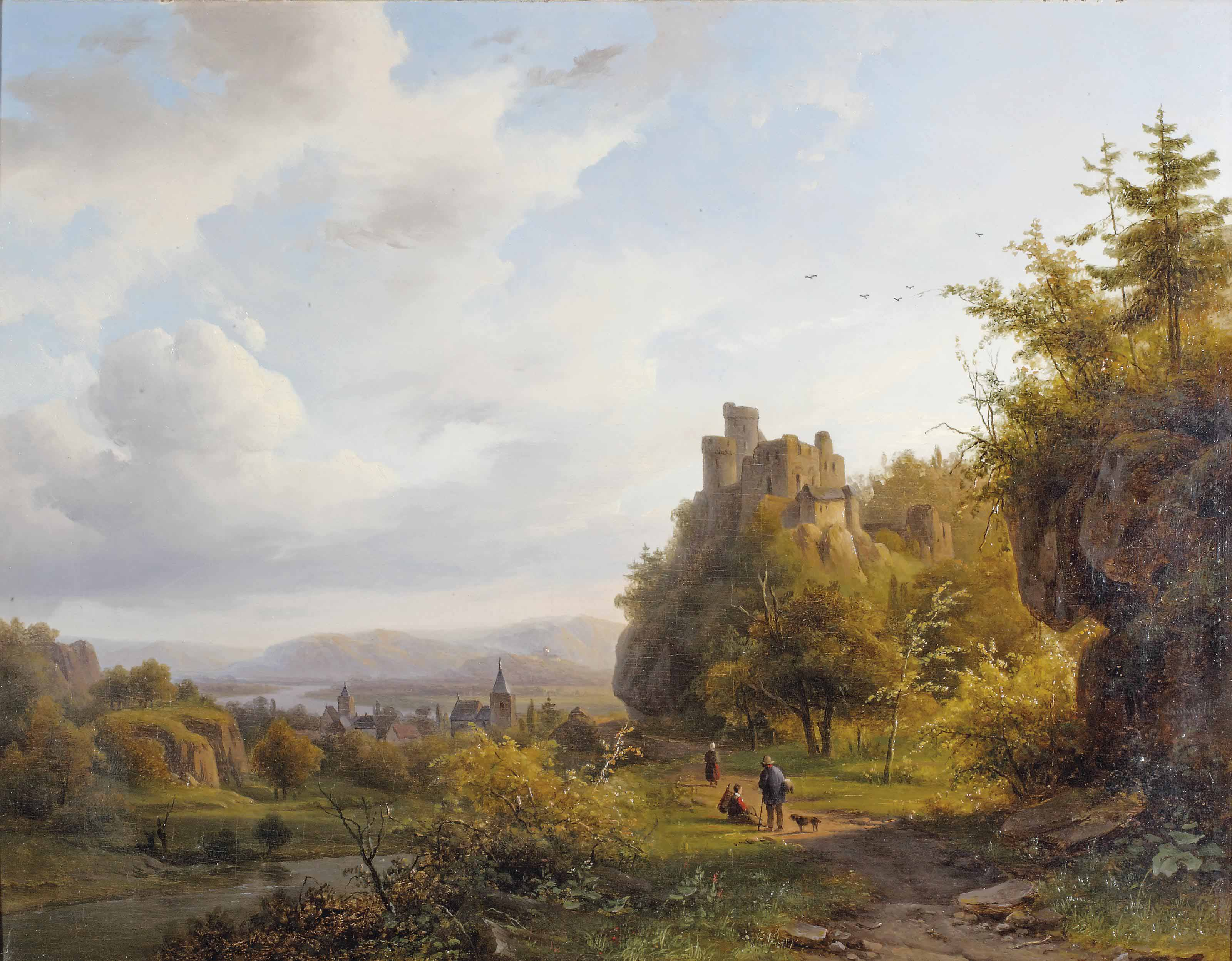 A Rheinish landscape with a ruin