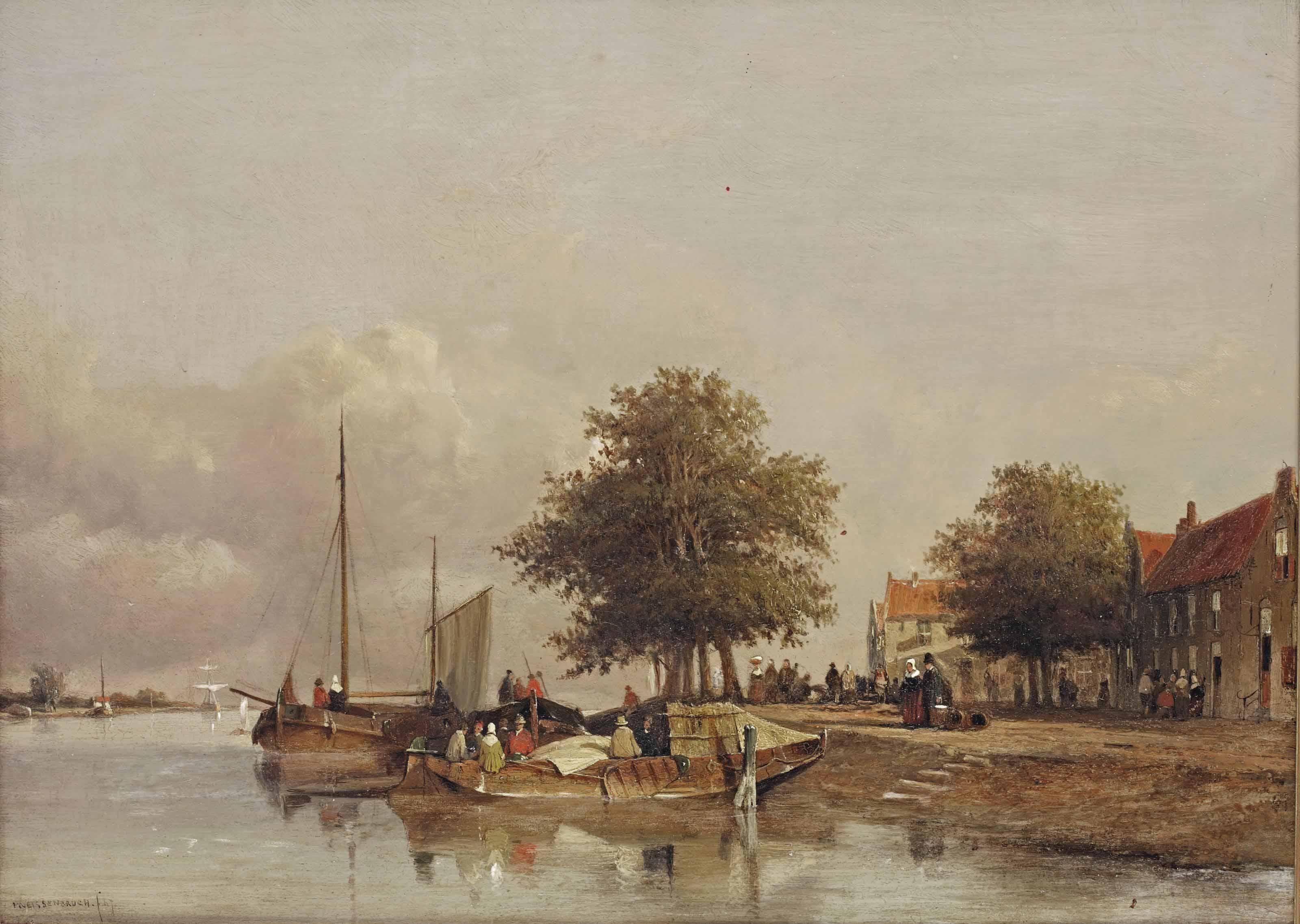 Townfolks on a quay in Wijk bij Duurstede