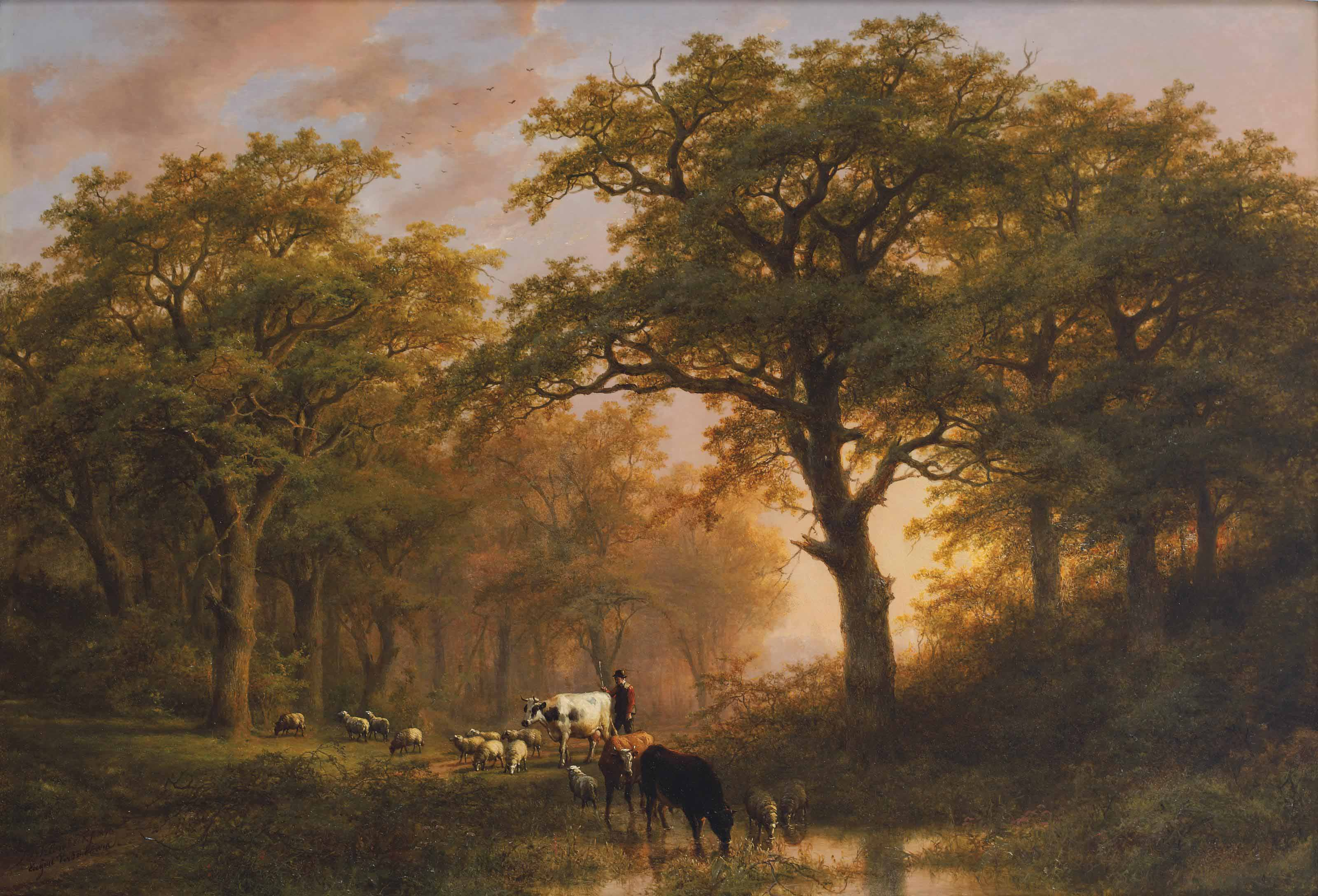 A summer landscape with cattle