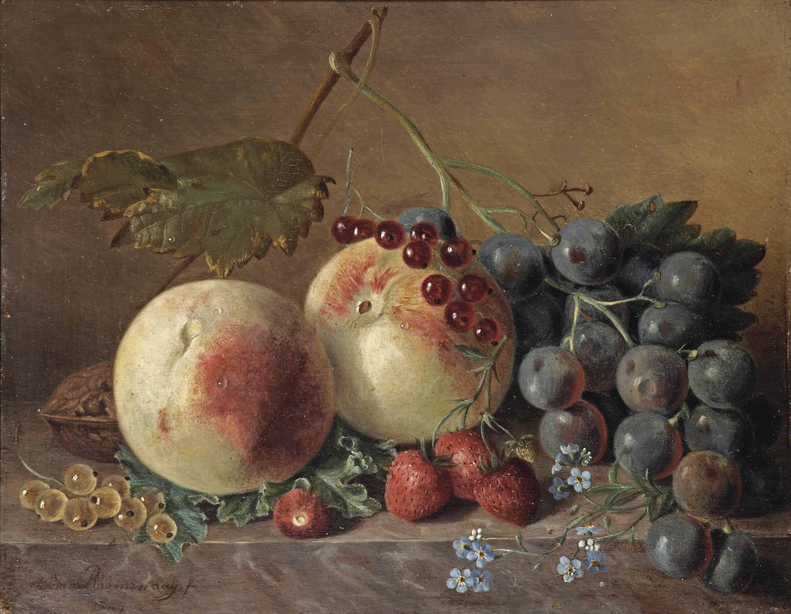 Peaches, grapes, wild strawberries, red and white currants, forget-me-nots and a walnut on a marble ledge