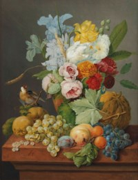 An abundant bouquet of pink roses, tulips, irises and rhododendrons in a vase with a goldfinch and fruits