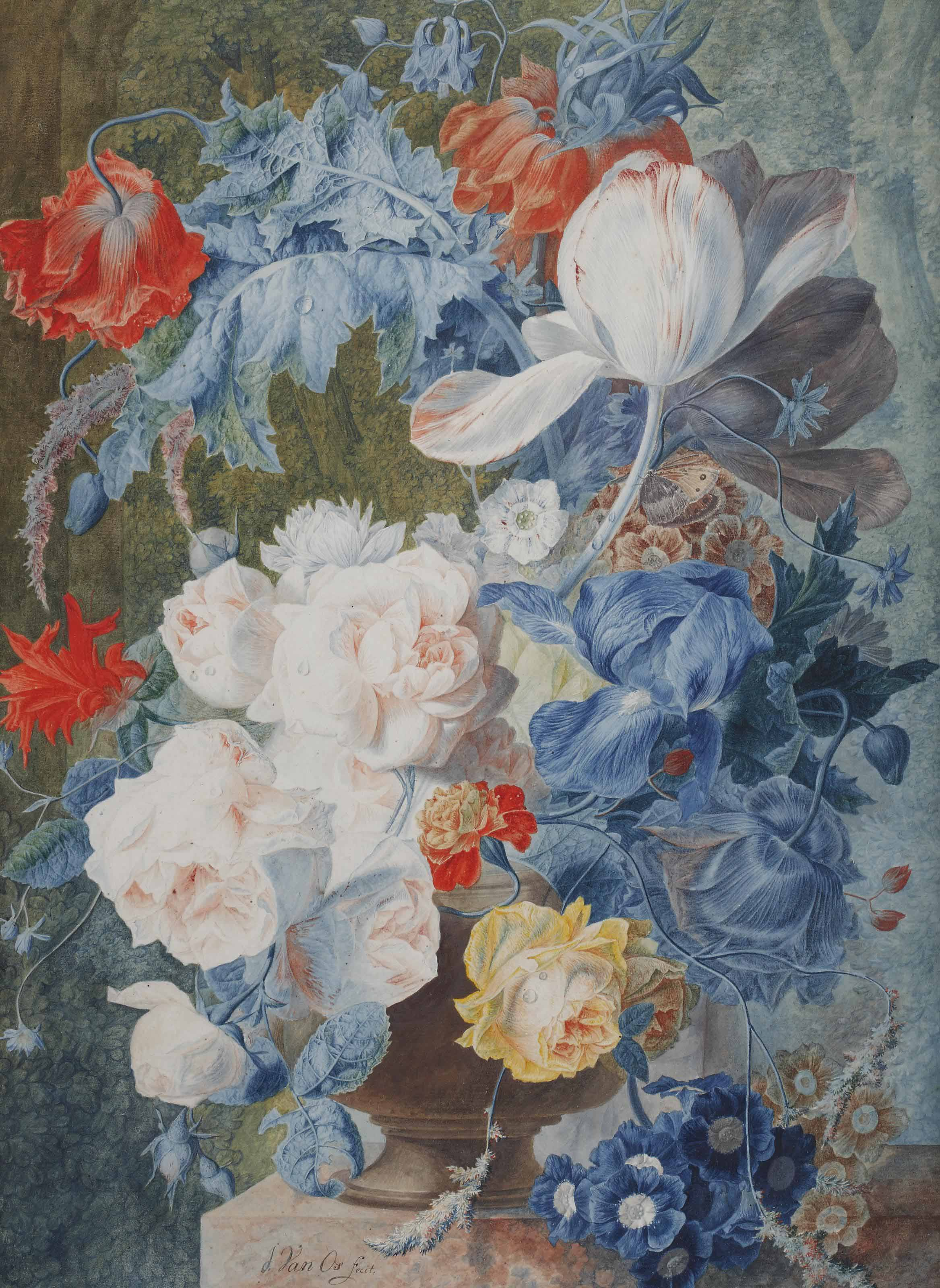 A colourful bouquet of roses, poppies, tulips and primroses in a garden landscape
