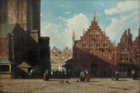 A sunlit view of the Grote Markt with the St. Bavo church and the Vleeshal, Haarlem