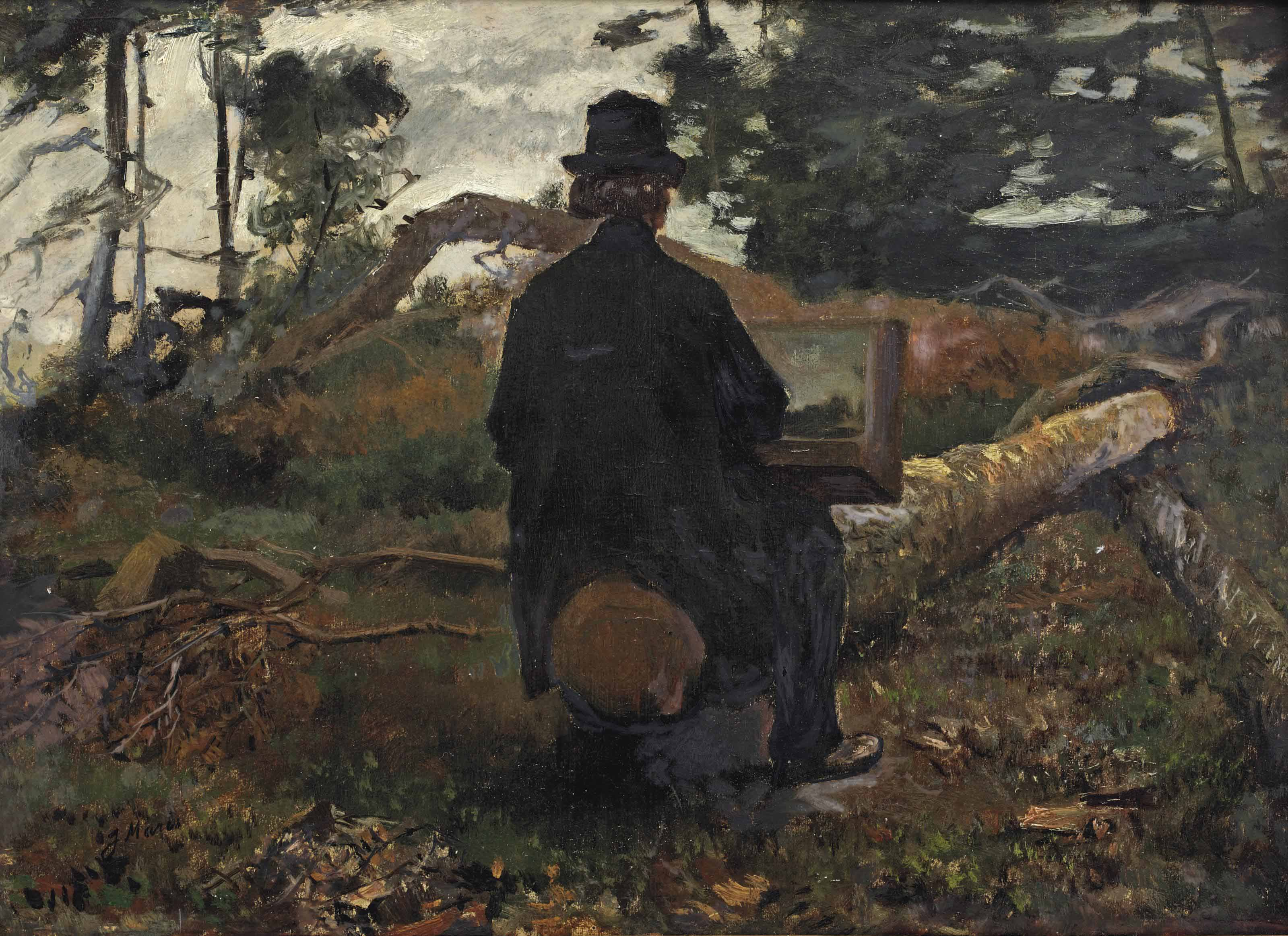 The painter Frederik Hendrik Kaemmerer at work in Oosterbeek