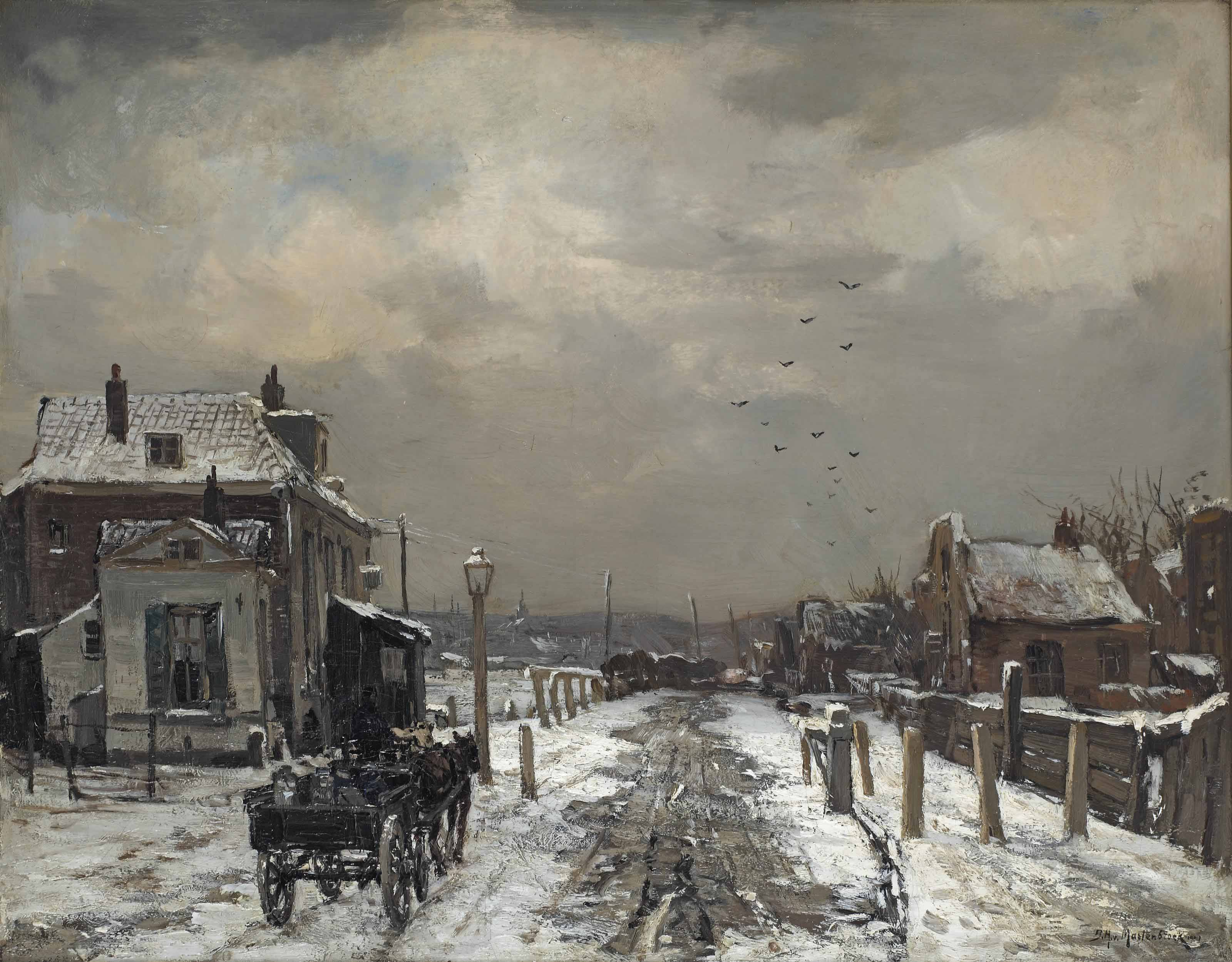 Winter: a horsedrawn carriage on a snowy path near a Dutch town