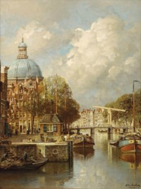 View of the Singel with the Lutheran church, Amsterdam