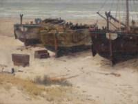 Bomschuiten on the beach, Katwijk