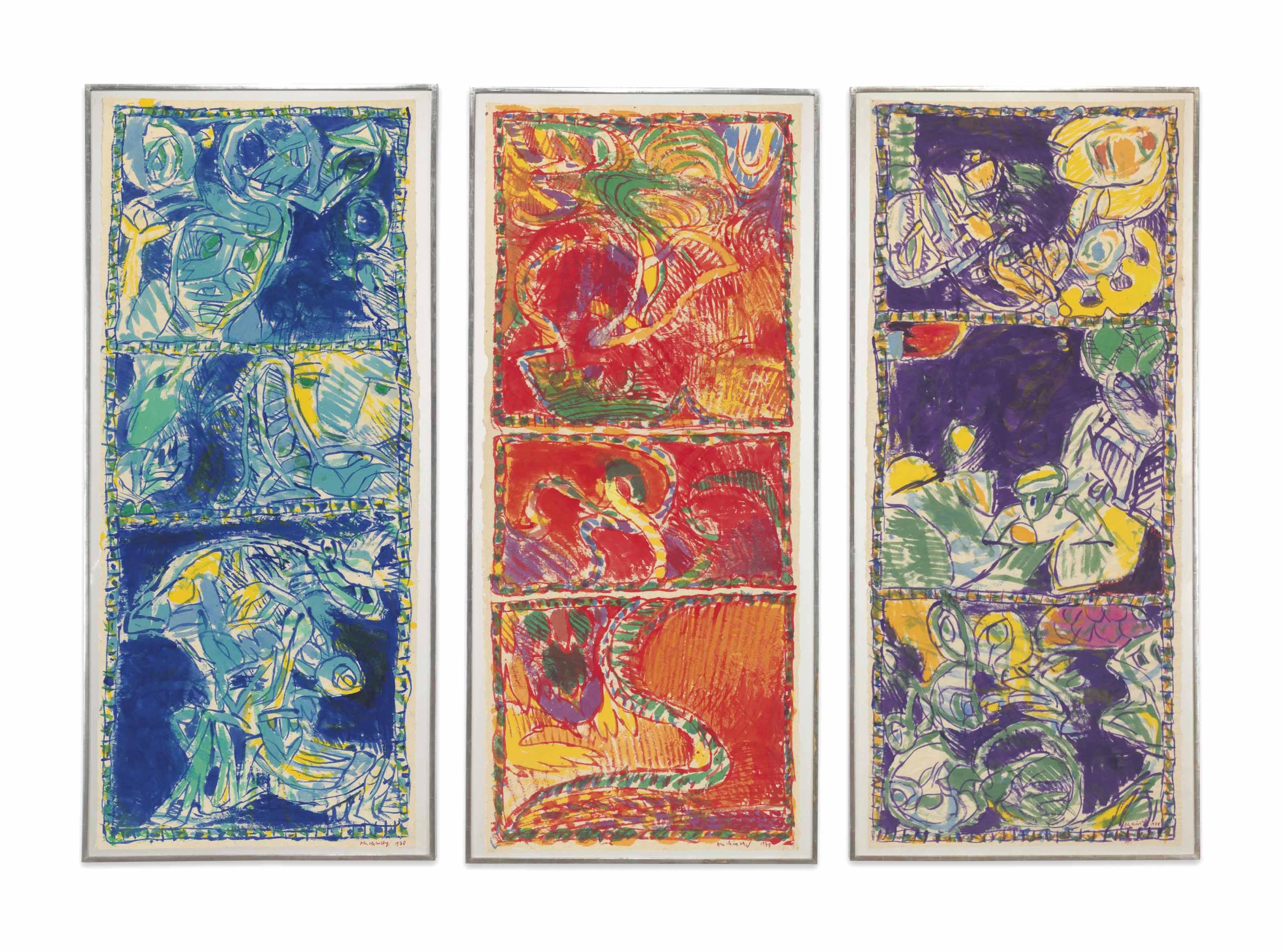 (i) Sous la conduite de bleu (Led by Blue) (ii) Sous tutelle du rouge (Under the Trust of Red) (iii) Sous la domination du violet (Under the Domination of Violet)