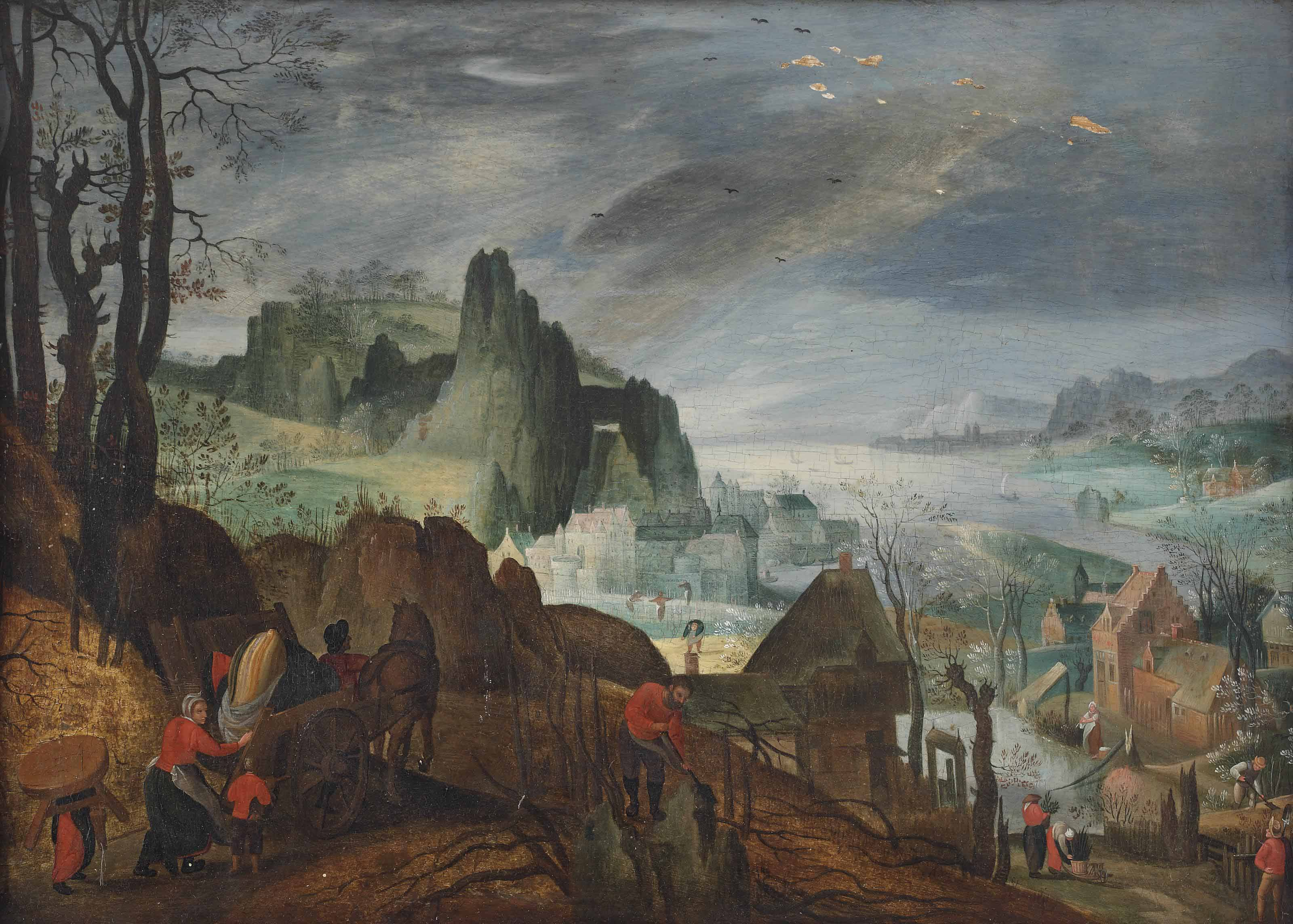 An Allegory of Spring: a rocky coastal landscape with farmers working