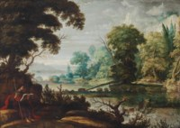 A wooded landscape with Saint James the Elder resting on a riverbank, with a herdsman and his cattle in the distance, and a town beyond