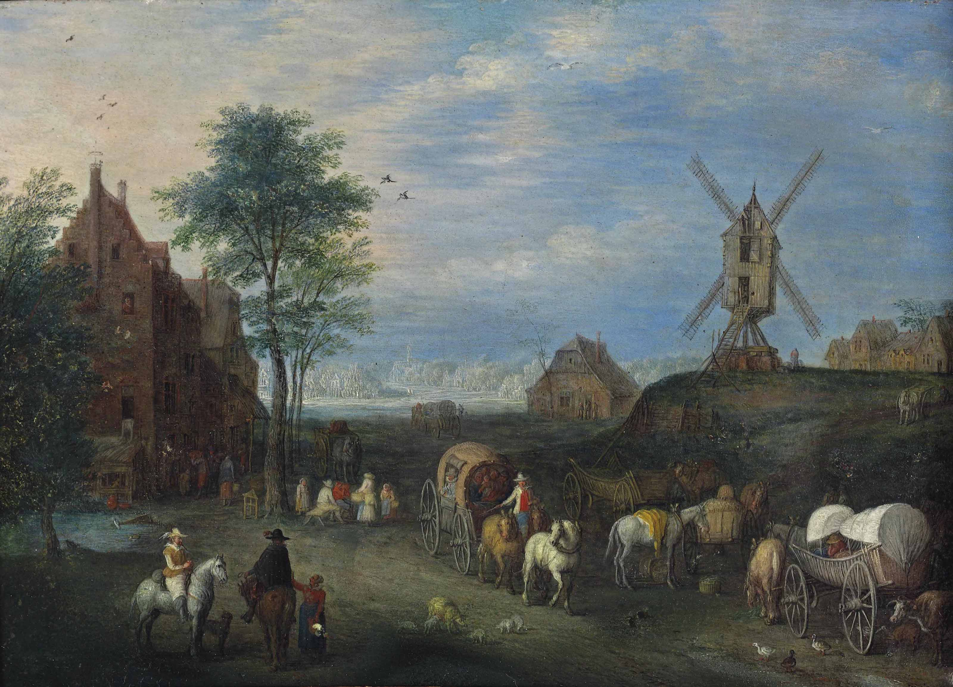 A landscape with travellers on a road in a village, a windmill nearby