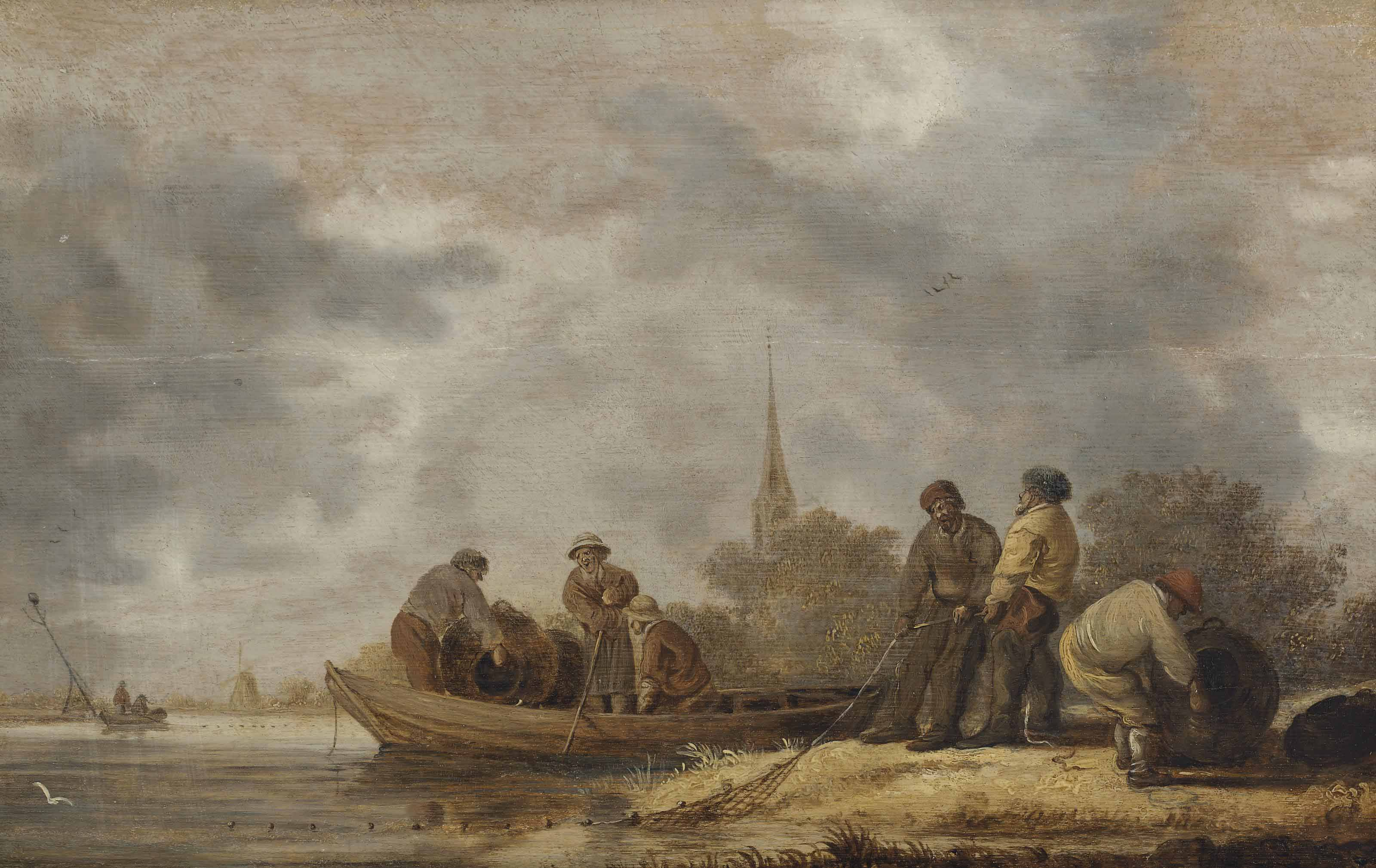 A river landscape with fishermen bringing in their catch