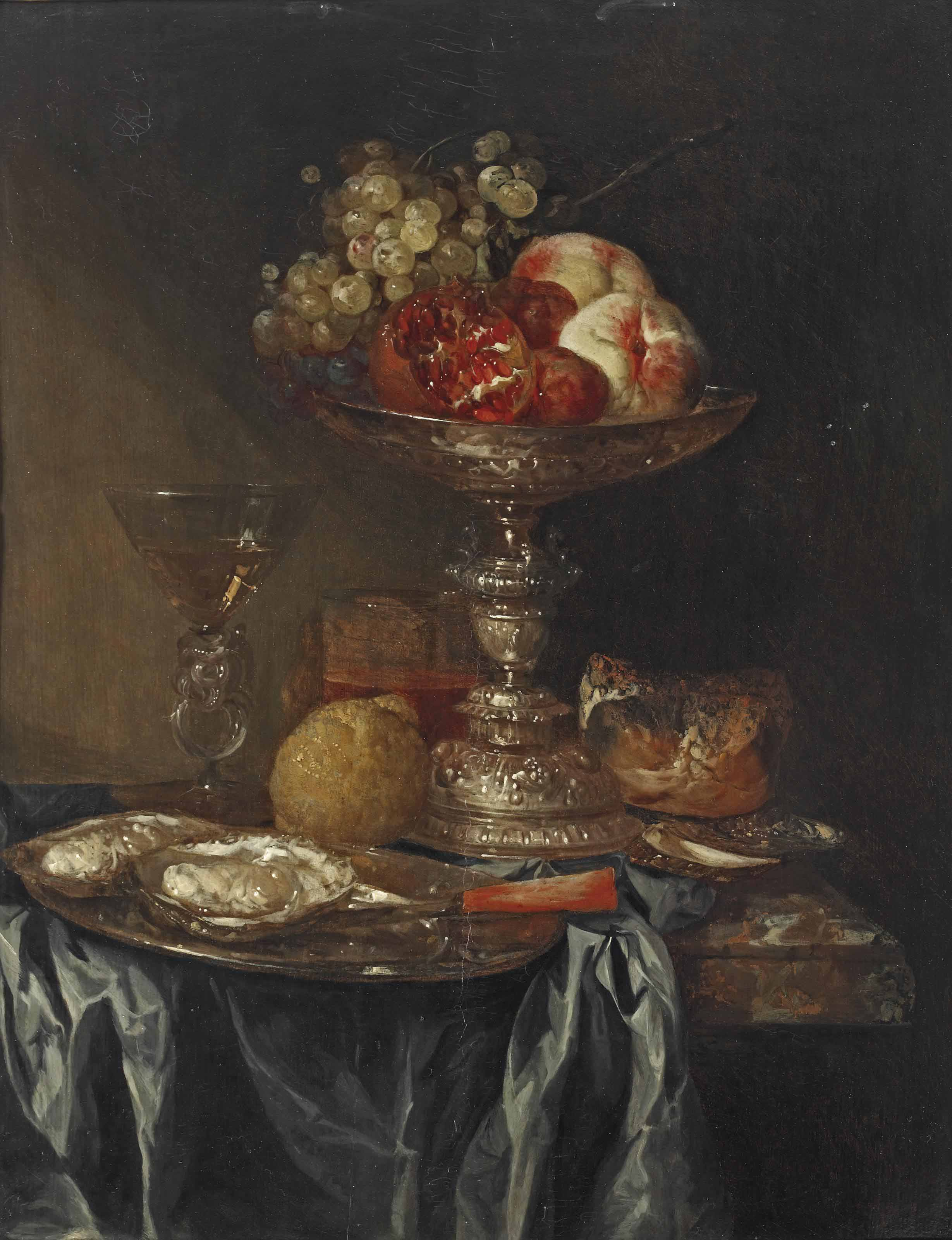 Grapes, pomegranates and peaches in a silver tazza, oysters on a pewter plate, a façon-de-venice glass with white wine, a glass of beer, a lemon and a bread roll, on a partially draped marble table