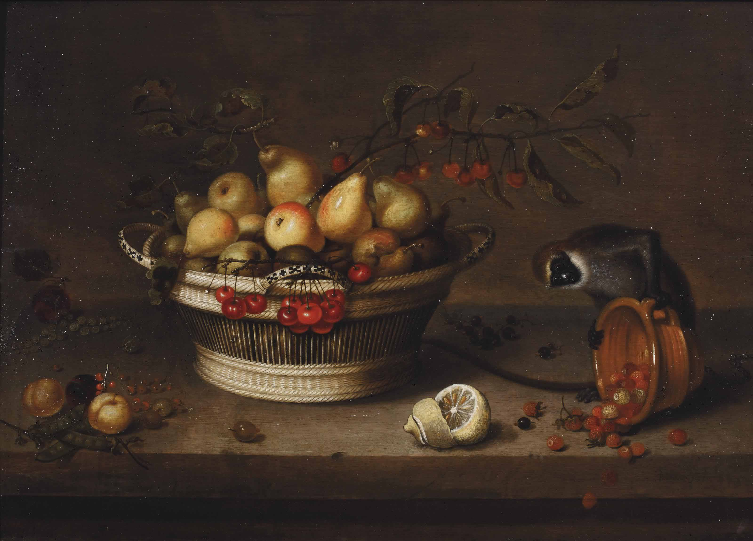 A wicker basket with apples, pears, cherries, plums, peas and currents, with a sliced lemon and a monkey overturning an earthenware bowl of wild strawberries, on a ledge
