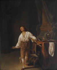 A violin player in an interior with a pewter tankard, jug and platter on a table before a column