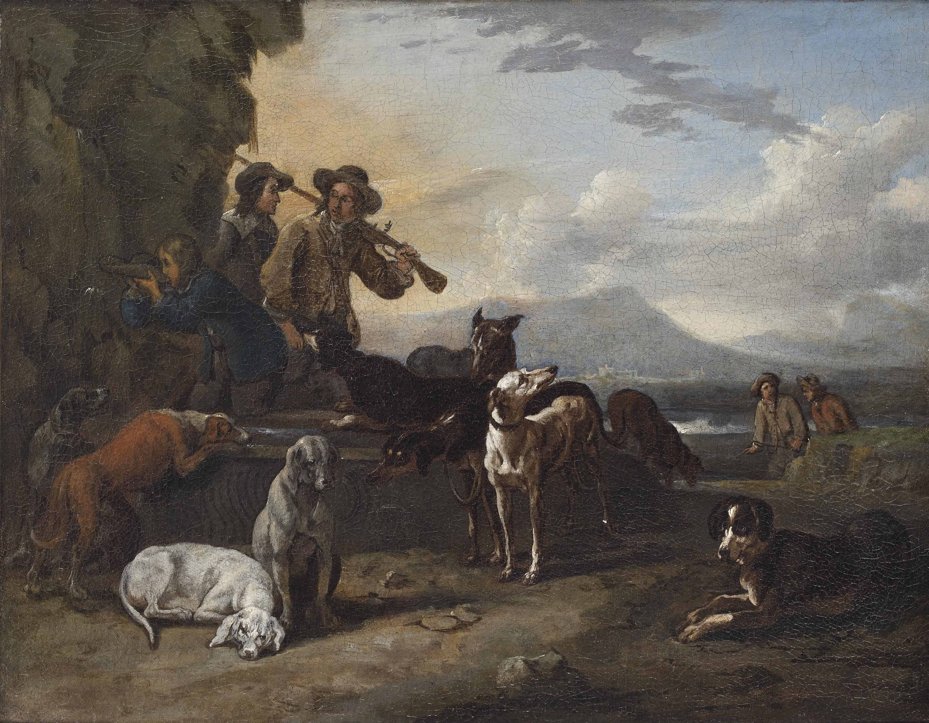 A hunting party with dogs resting by a well in a landscape